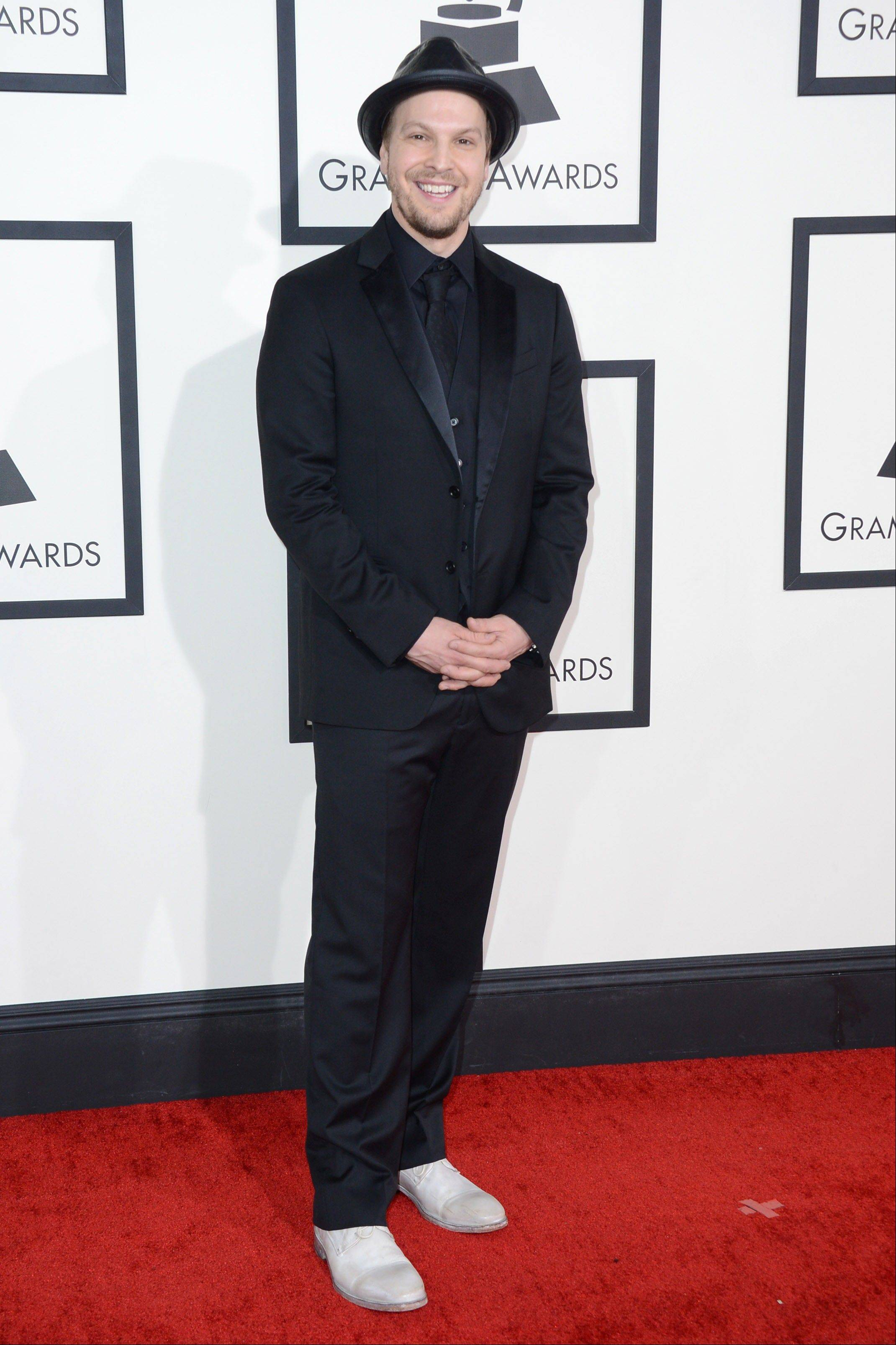 Gavin DeGraw arrives at the 56th annual Grammy Awards.