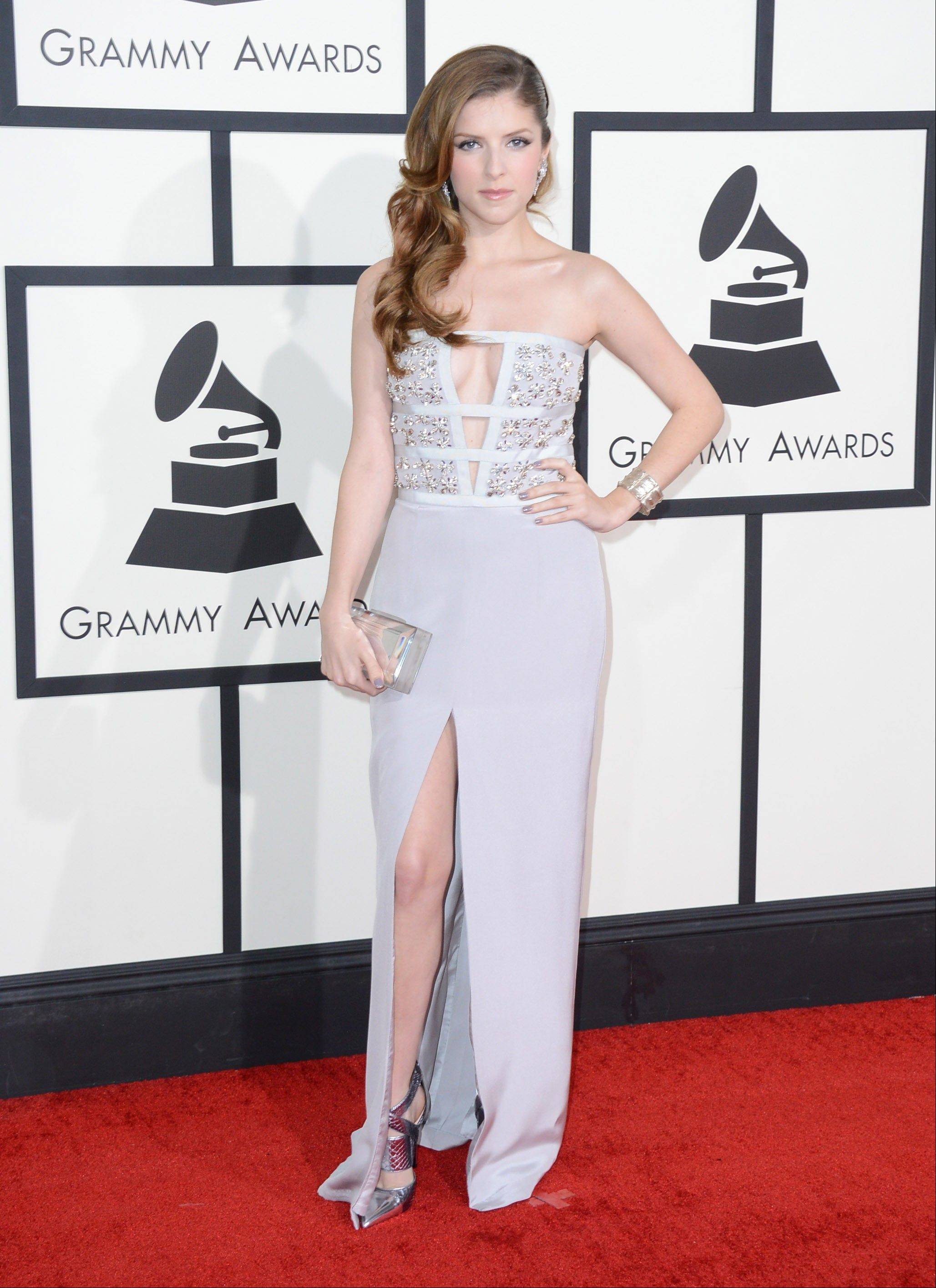 Actress Anna Kendrick arrives at the 56th annual Grammy Awards.