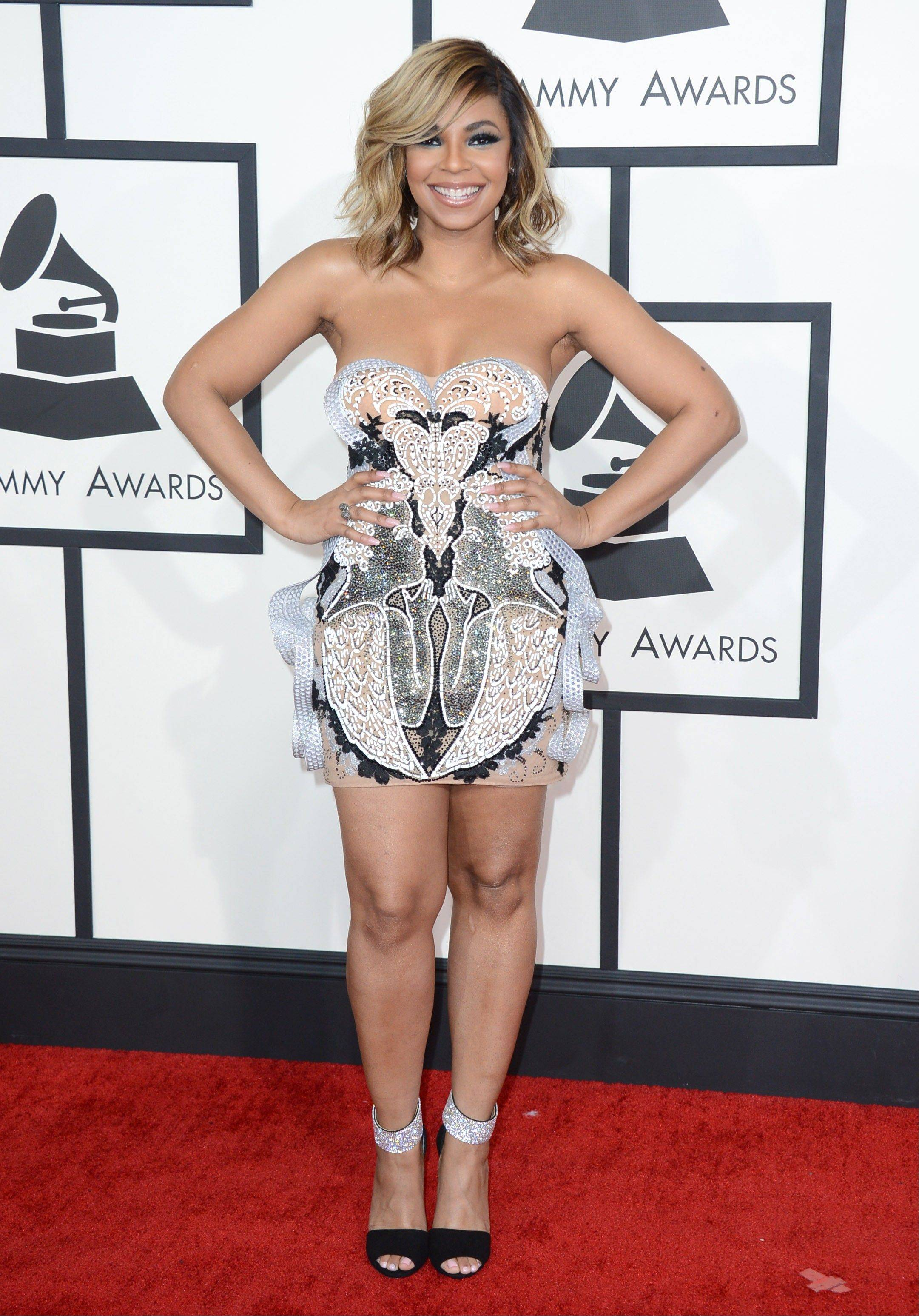 Ashanti arrives at the 56th annual Grammy Awards.