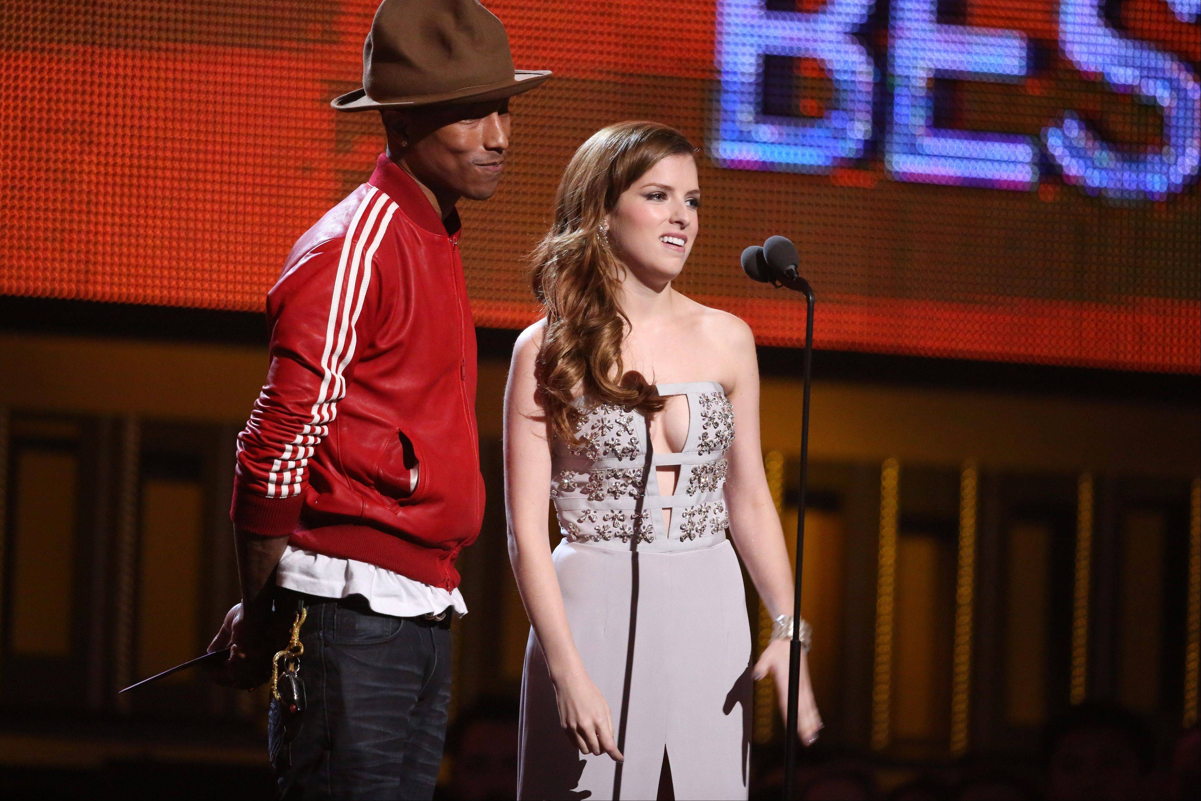 Pharrell Williams and Anna Kendrick present the award for best new artist at the 56th annual Grammy Awards.