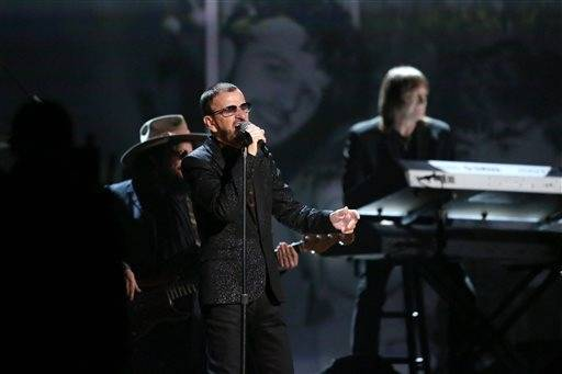 Ringo Starr performs during Sunday night's Grammys.