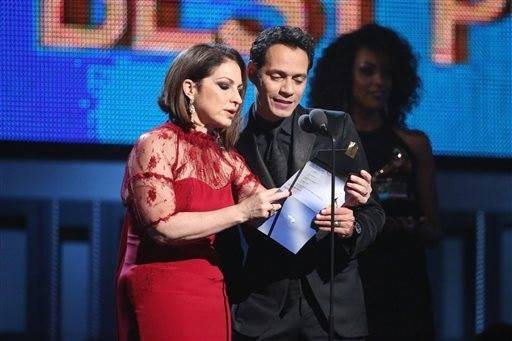 Gloria Estefan, left, and Marc Anthony present the award for best pop vocal album.