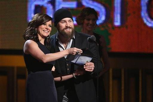 Martina McBride, left, and Zac Brown present the award for best country album.