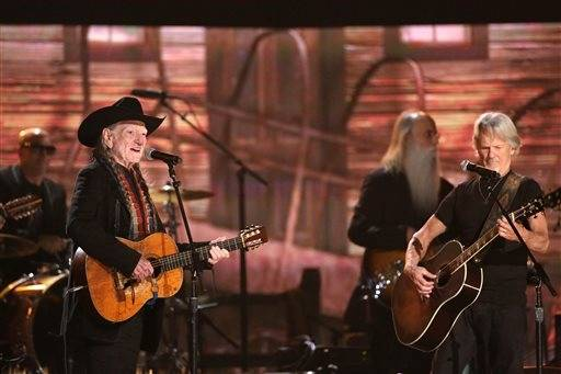 Willie Nelson, left, and Kris Kristofferson perform at the 56th annual Grammy Awards.