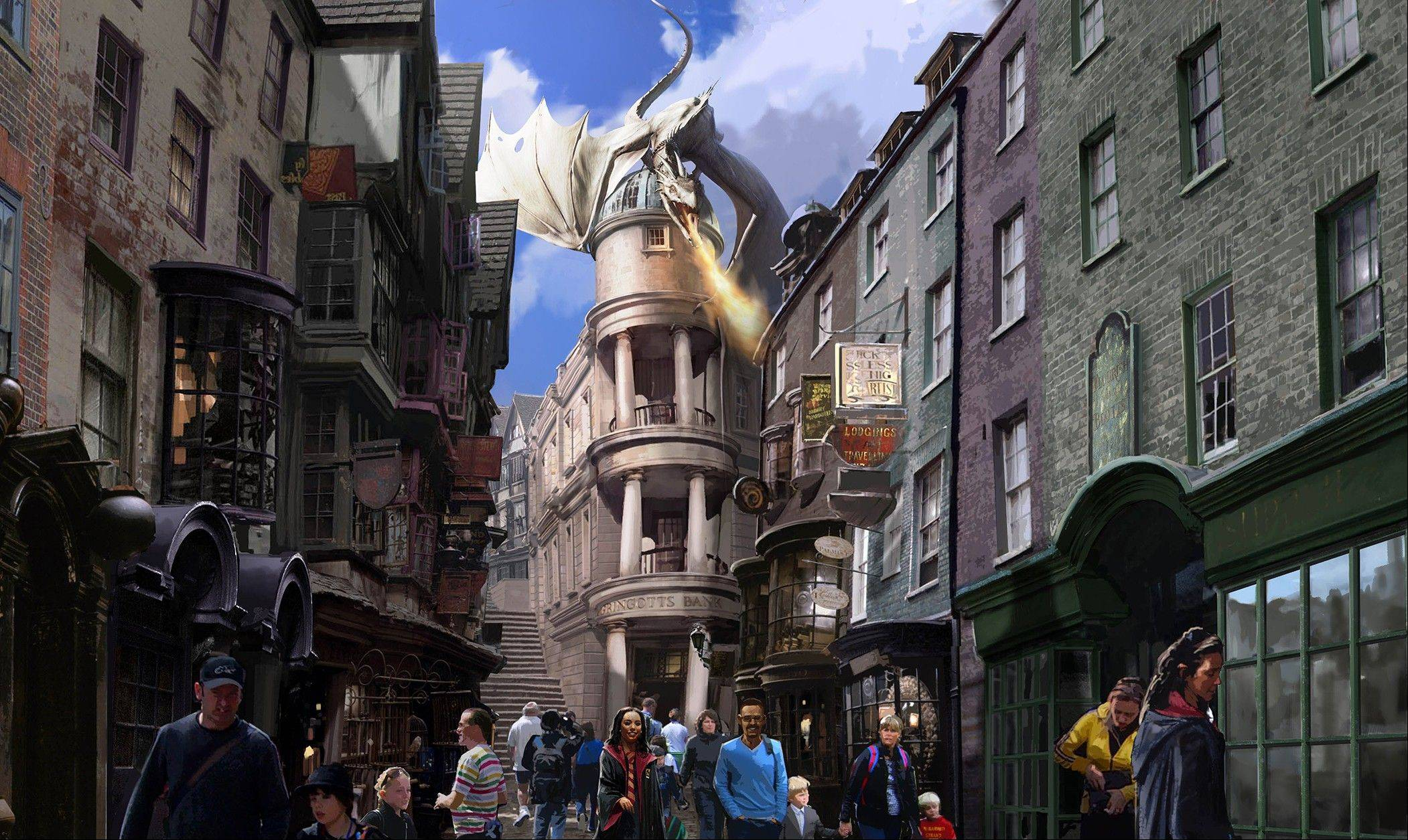 This artist rendering shows the new Harry Potter area called Diagon Alley, opening at Universal Orlando Resort this summer.