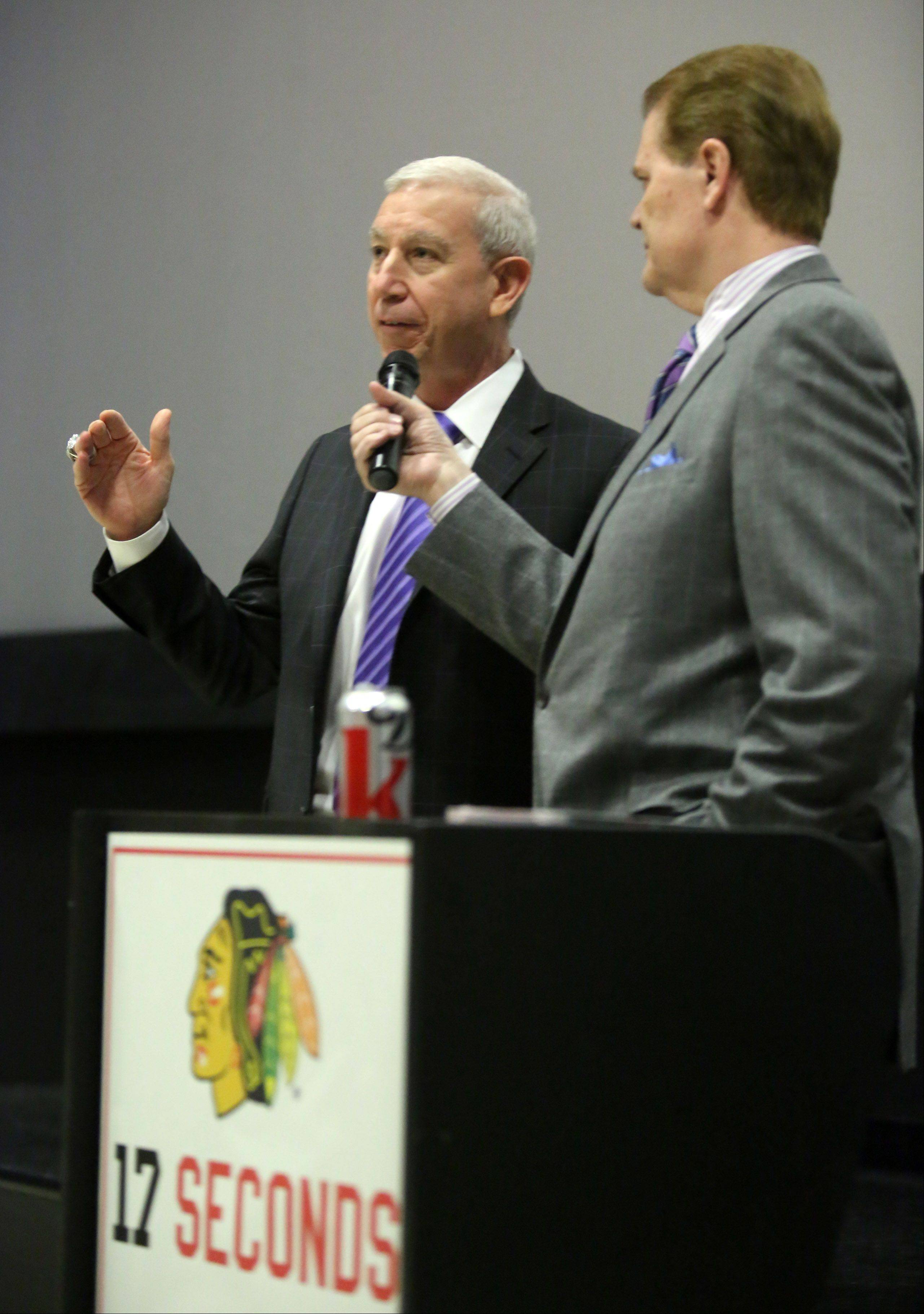 "Broadcaster Chet Coppock interviews John McDonough, president and CEO of the Chicago Blackhawks, before a screening of the film ""17 Seconds"" on Sunday at Classic Cinemas Theater in Elk Grove Village. The event, presented by the Daily Herald and the Blackhawks, also featured autograph signings and giveaways."