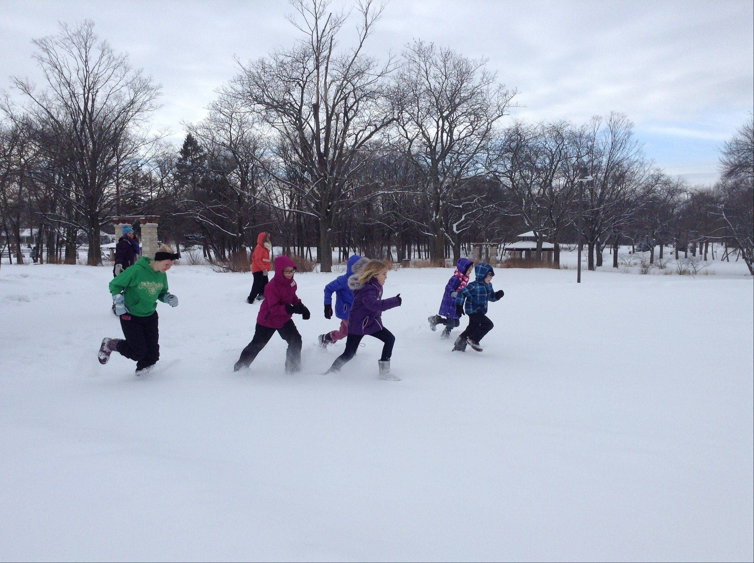 Kids collected vegetables in a relay race during Sunday's Frozen Zucchini Snowshoe Adventure in Barrington. The event is a fundraiser for Smart Farm, a local organization that promotes sustainable gardening and donates produce to food pantries.