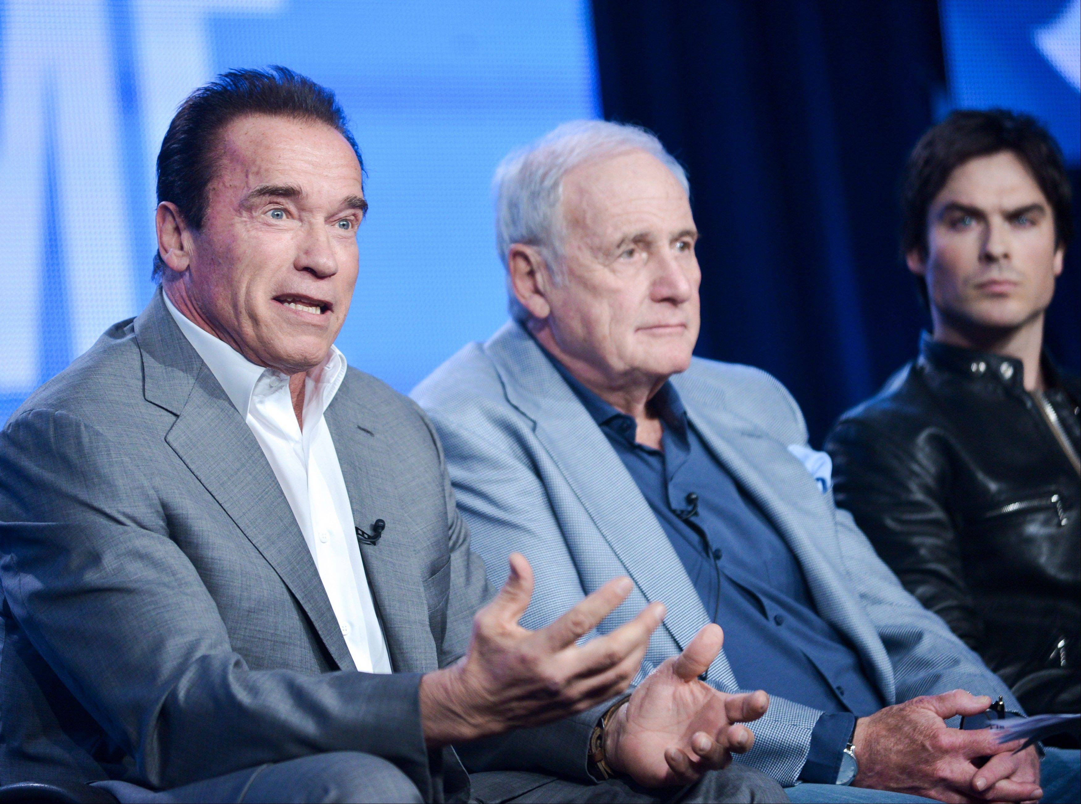 "Executive producer/correspondent Arnold Schwarzenegger, left, executive producer Jerry Weintraub, and correspondent and actor Ian Somerhalder participate in the ""Years of Living Dangerously"" panel discussion at the Showtime Winter 2014 TCA Press Tour recently. The producers of the upcoming Showtime series on global warming say it is crucial to get both celebrities and Republicans involved in the project."