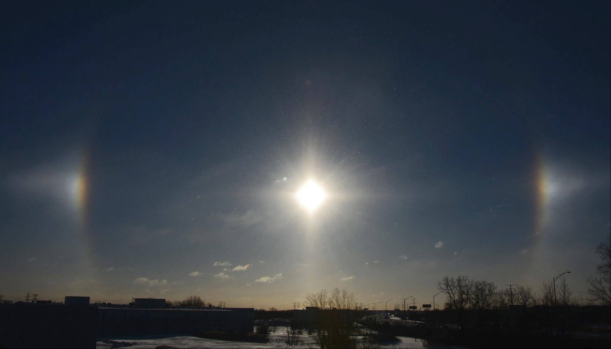 Sundog lights up frigid suburban skies