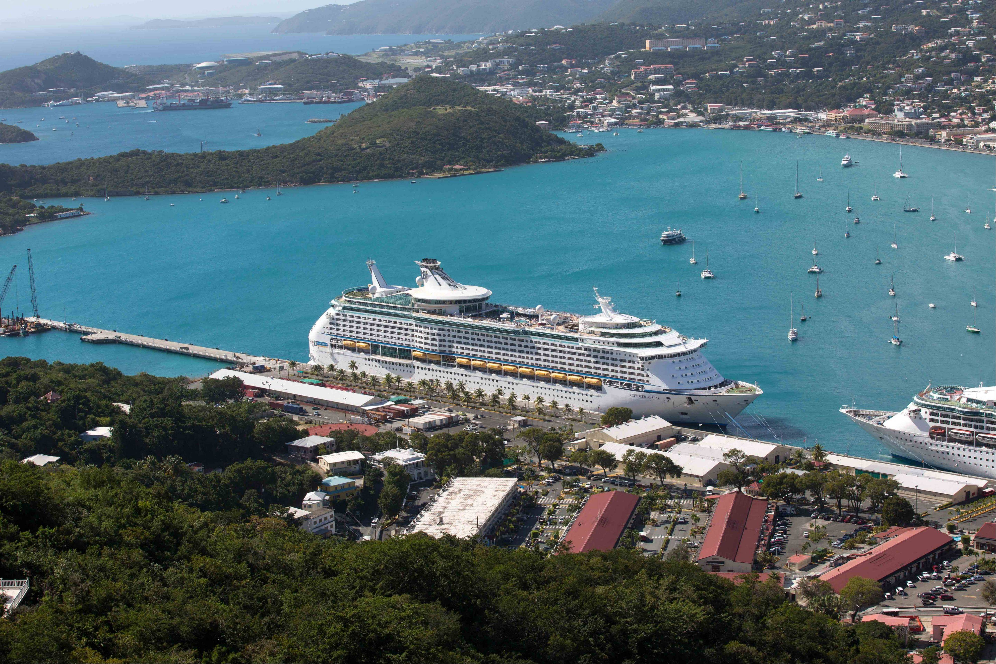 The Royal Caribbean International's Explorer of the Seas docked at Charlotte Amalie Harbor in St. Thomas, U. S. Virgin Islands, Sunday.