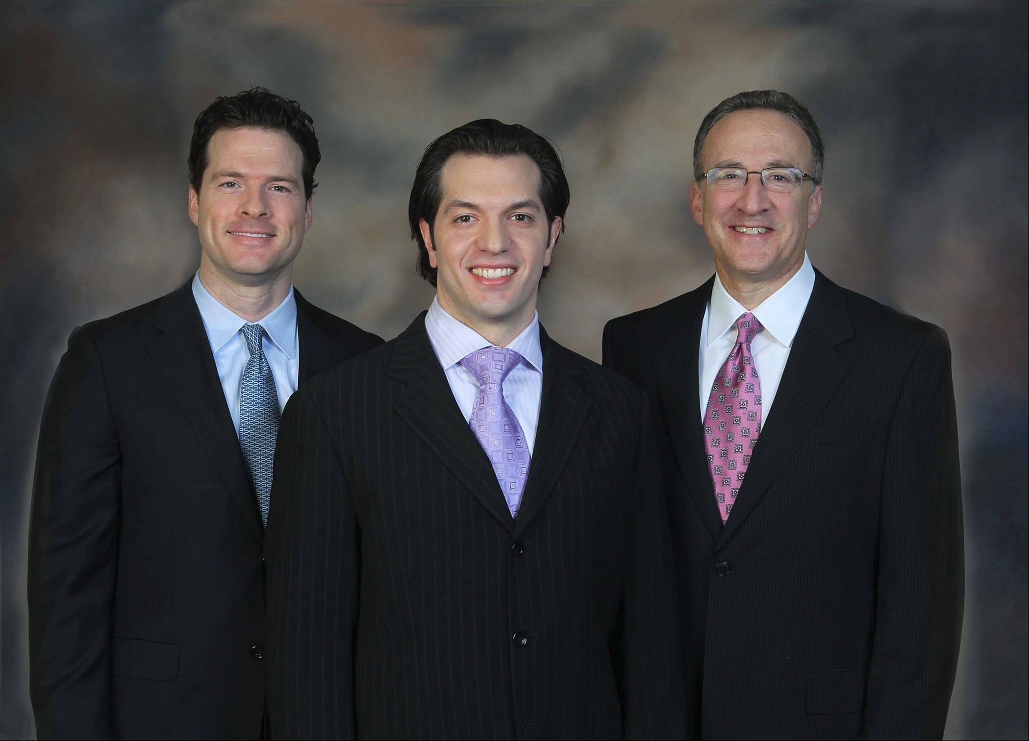 Interventional radiologists Ryan Hickey, from left, Elias Hohlastos and Andrew Blum, all of the Northwestern Medical Faculty Foundation.