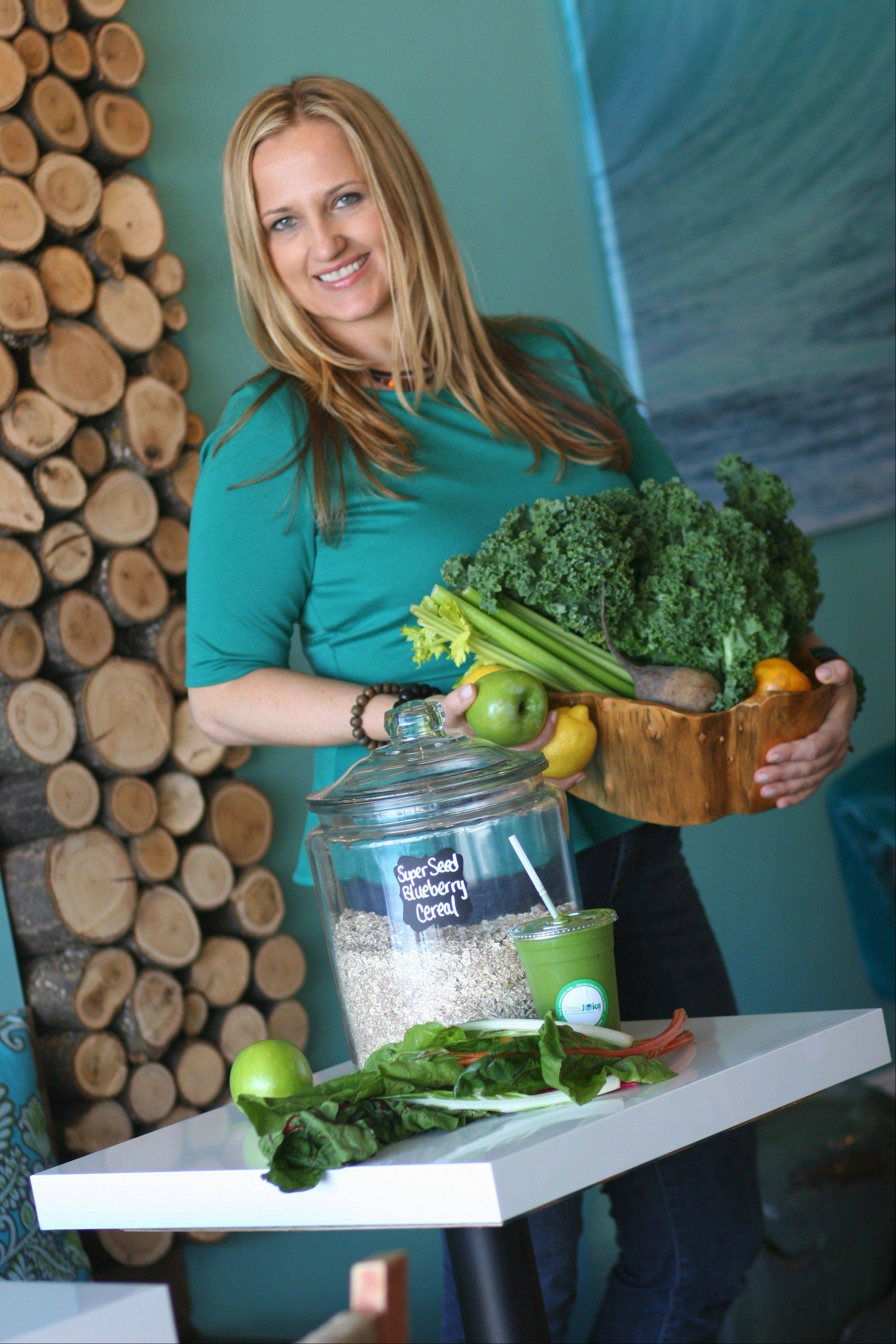 Paulina Kadzielawska, founder and general manager of Pure Juice, says the Arlington Heights cafe offers 3-, 5-, and 7-day juice cleanse packages.