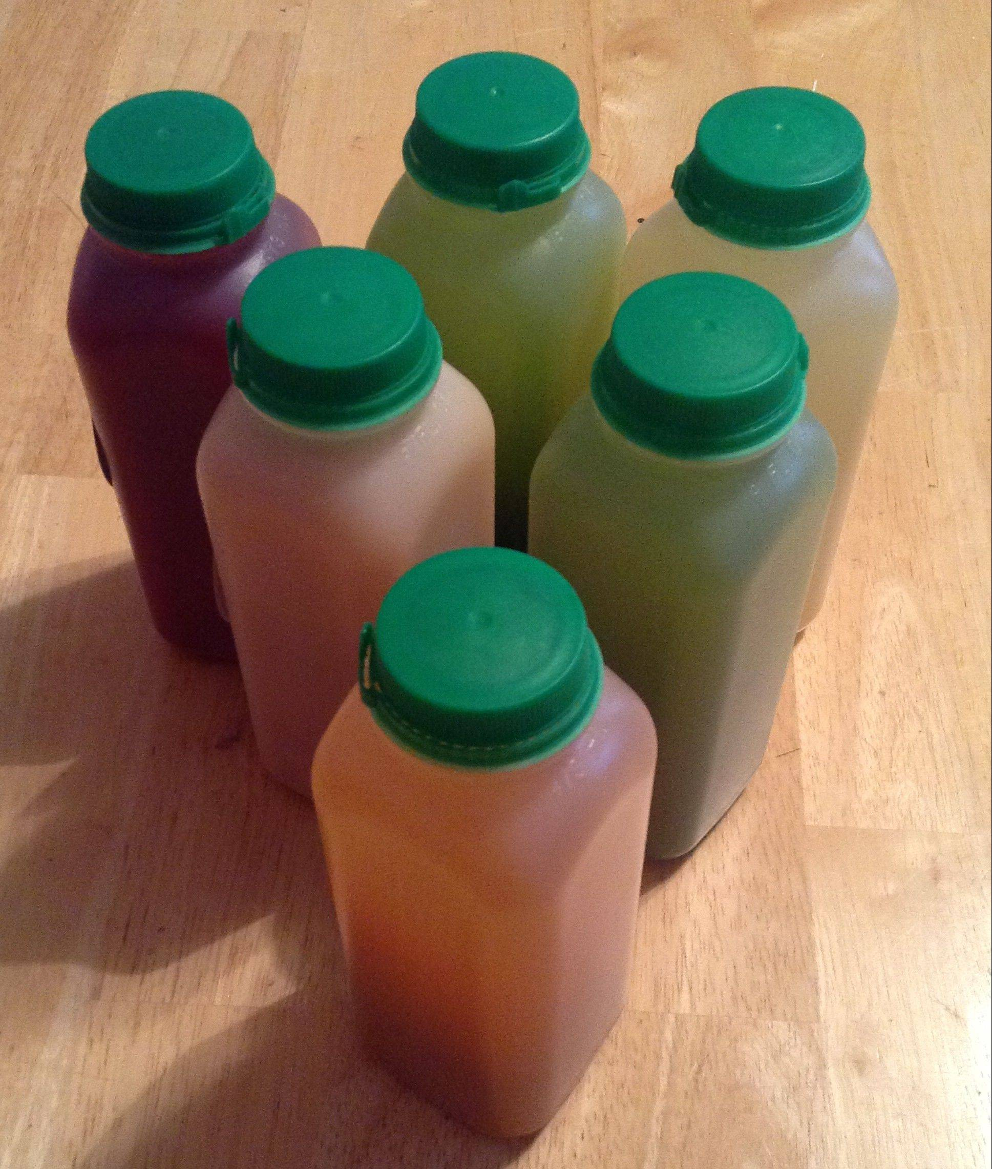 Pure Juice Cafe offers an assortment of six, 16-oz. juice bottles. This is what you would consumer in one day on the cleanse, supplementing only with water and caffeine-free herbal tea.