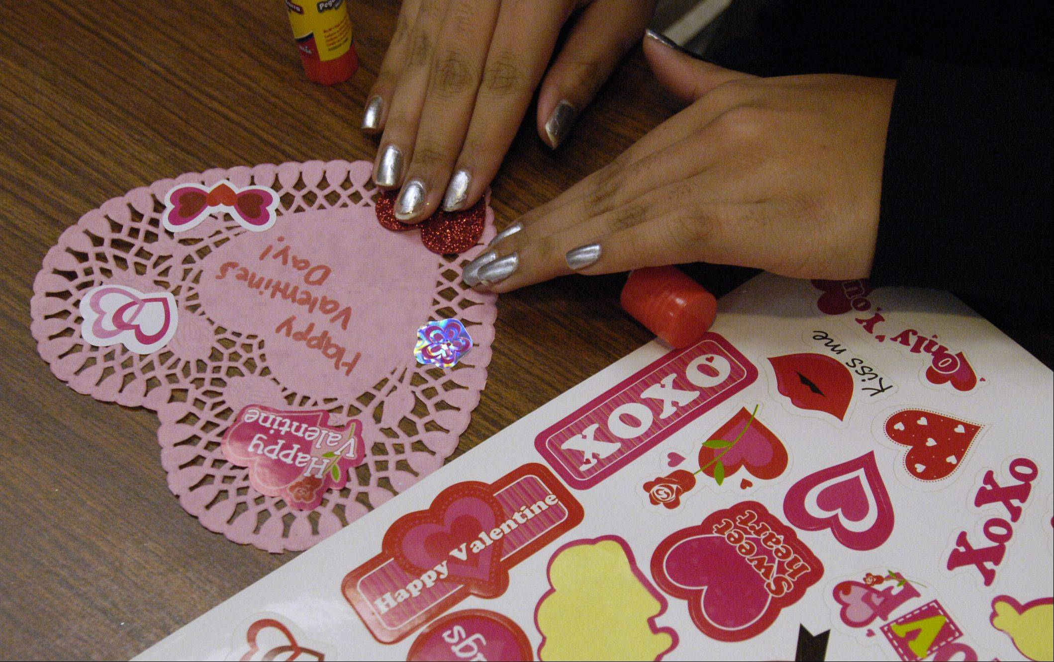 Members of clubs and teams at the Glenbard District 87 high schools often make cards to be distributed through the Valentines for Veterans project.