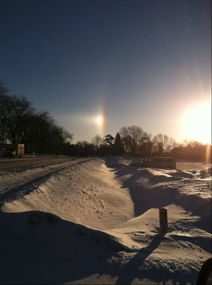 The sundog over Kirchoff Road in Rolling Meadows.