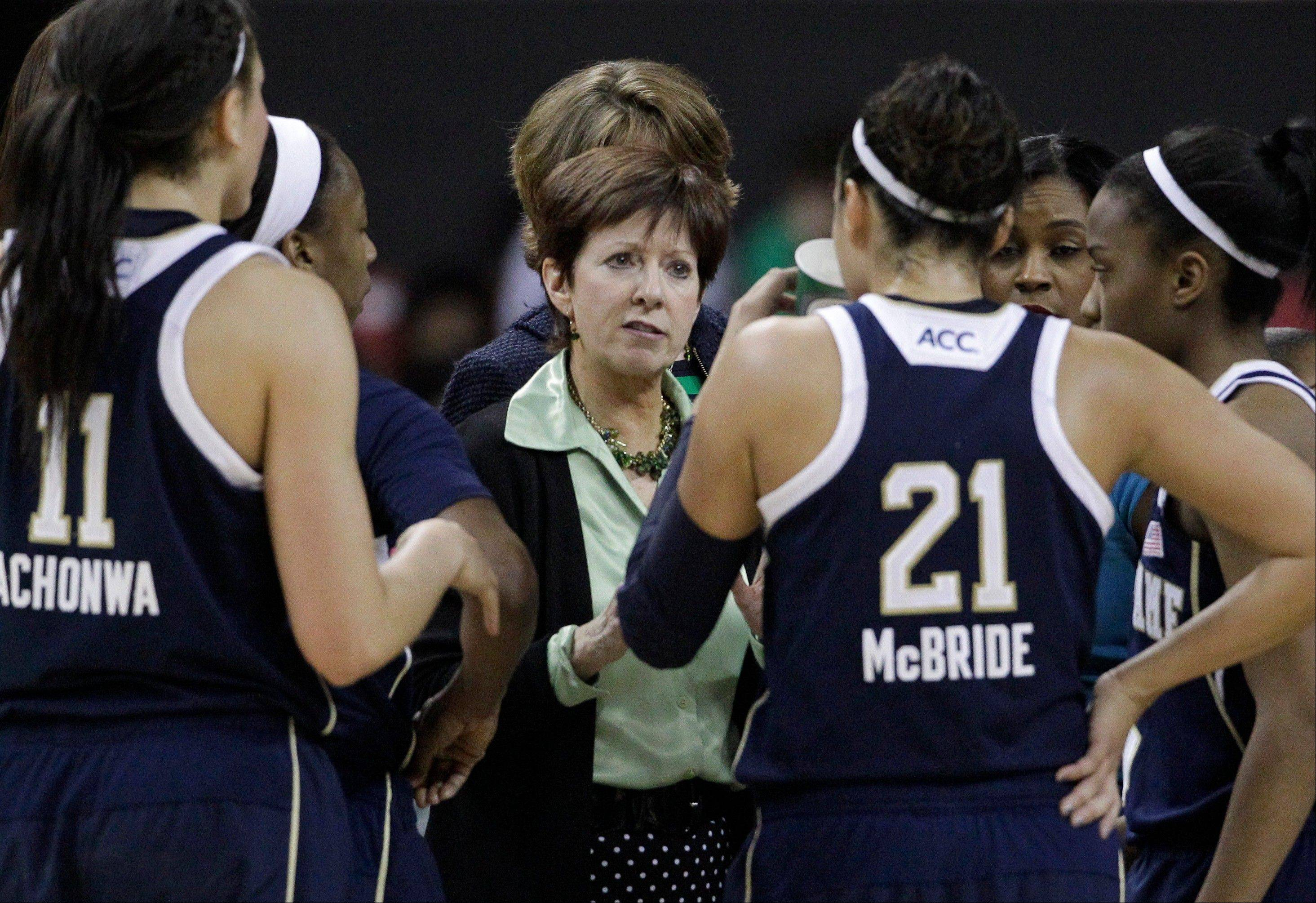 Notre Dame head coach Muffet McGraw, center, huddles with her team during a timeout in the second half of an NCAA college basketball game Monday against Maryland in College Park, Md. Notre Dame won 87-83.