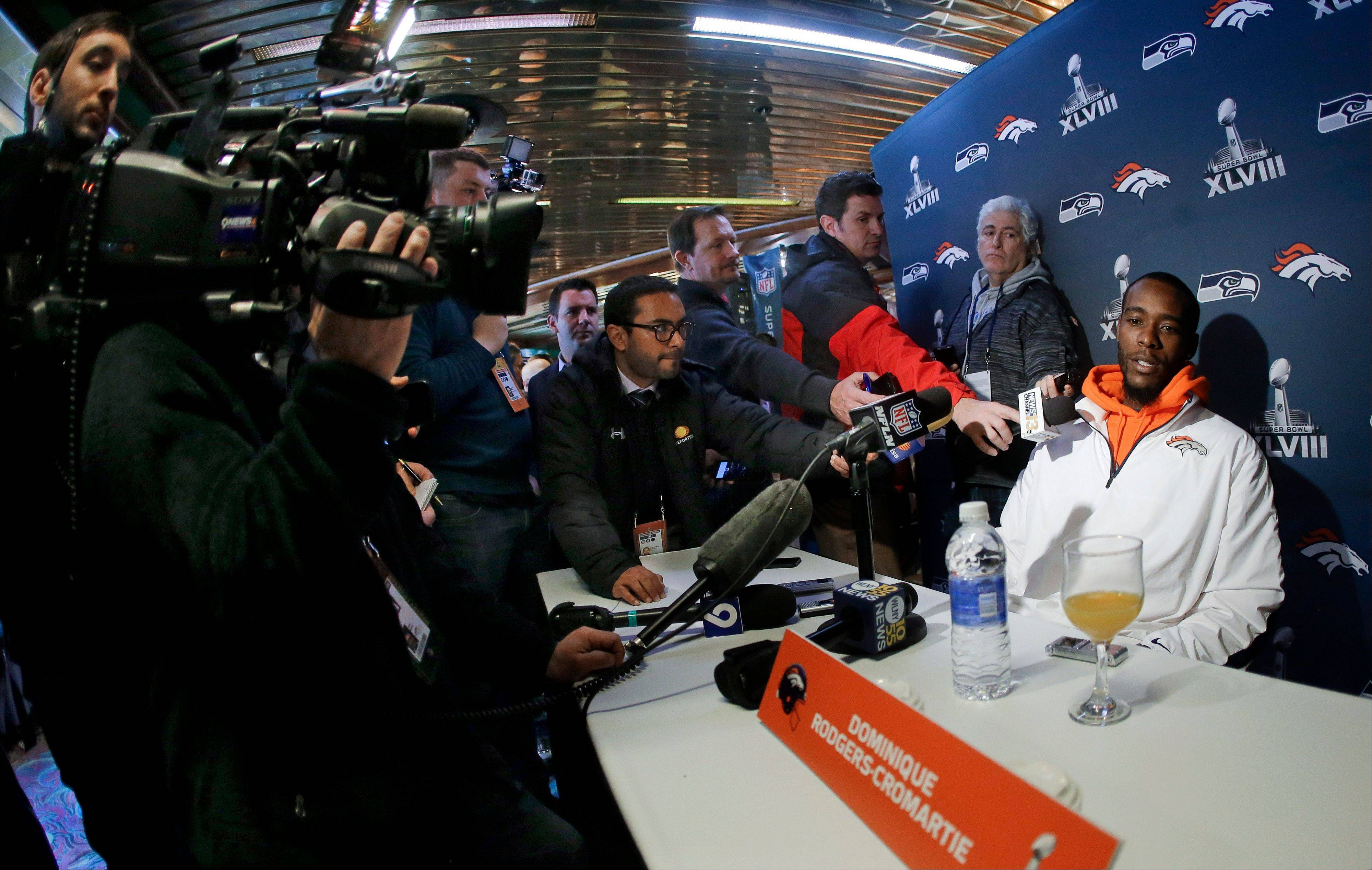 Denver Broncos cornerback Dominique Rodgers-Cromartie talks with reporters during a news conference Mondayin Jersey City, N.J. The Broncos are scheduled to play the Seattle Seahawks in the NFL Super Bowl XLVIII football game Sunday, Feb. 2, in East Rutherford, N.J.