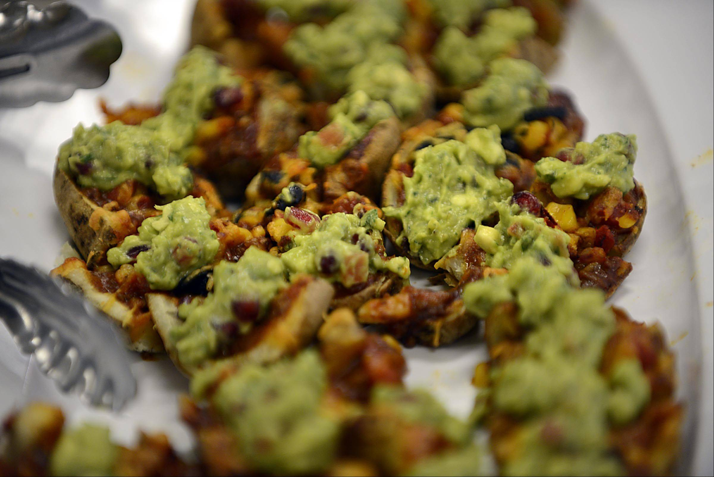 Loaded Nacho Potato Skins are one example of how common food pantry items can be turned into snacks for a Super Bowl bash.
