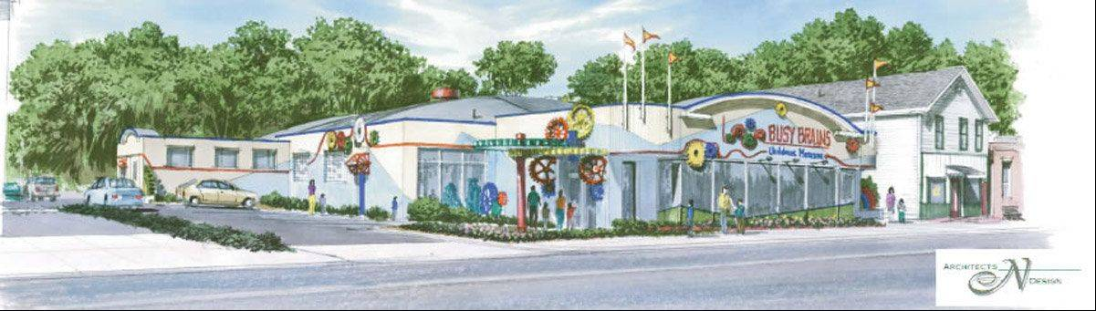 Busy Brains Children�s Museum has begun a fundraising campaign to convert this former car dealership in downtown Lake Villa into its permanent location. Here�s an artist rendering of the project.