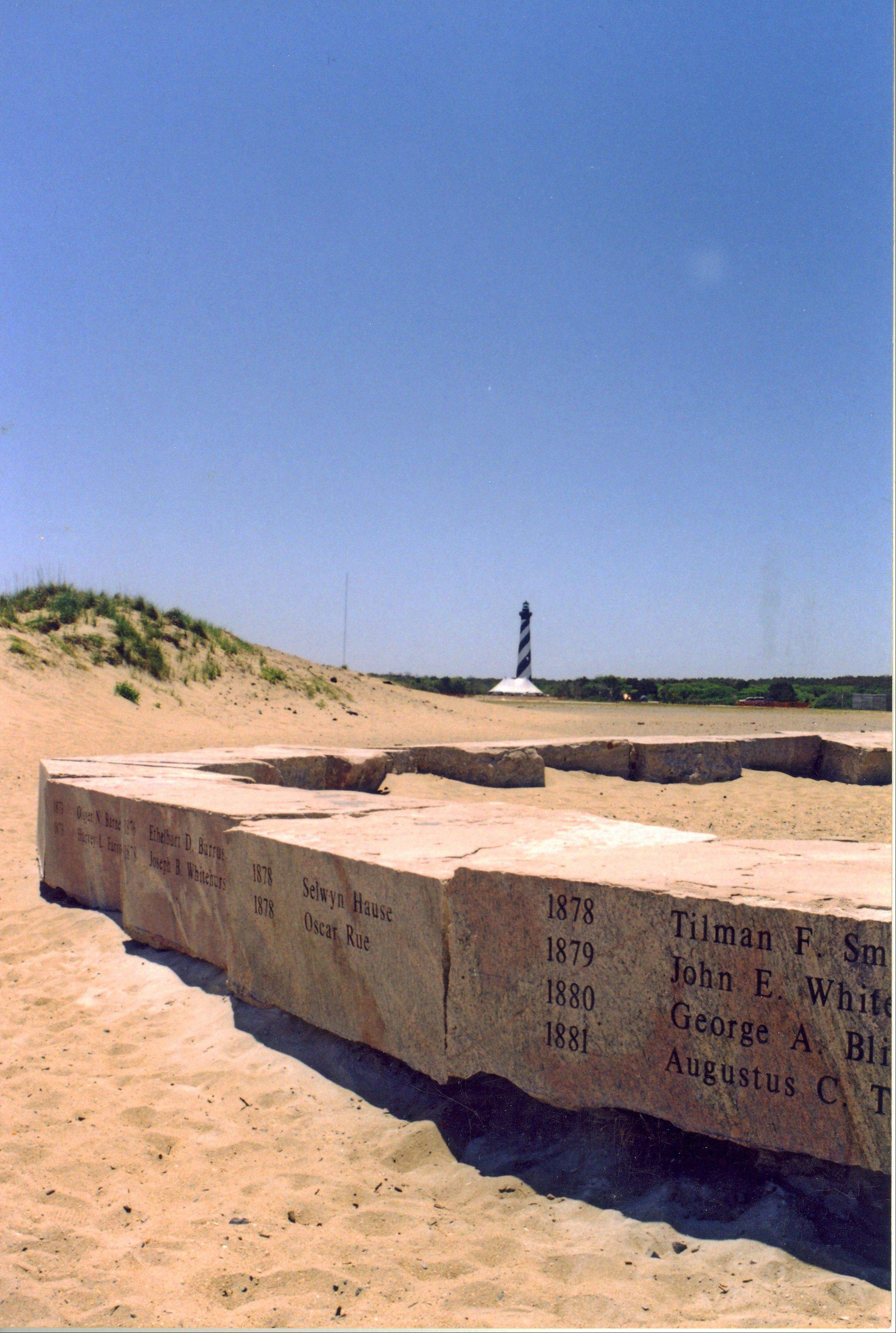 When the Cape Hatteras Lighthouse was moved 15 years ago, the stones were left behind at an erosion-prone spot on the Atlantic. Hatteras Island residents want the stones moved to the lighthouse so that they are publicly visible year-round and better protected from erosion. But the decision rests with the National Park Service, and so far there is no indication that the stones will be moved.