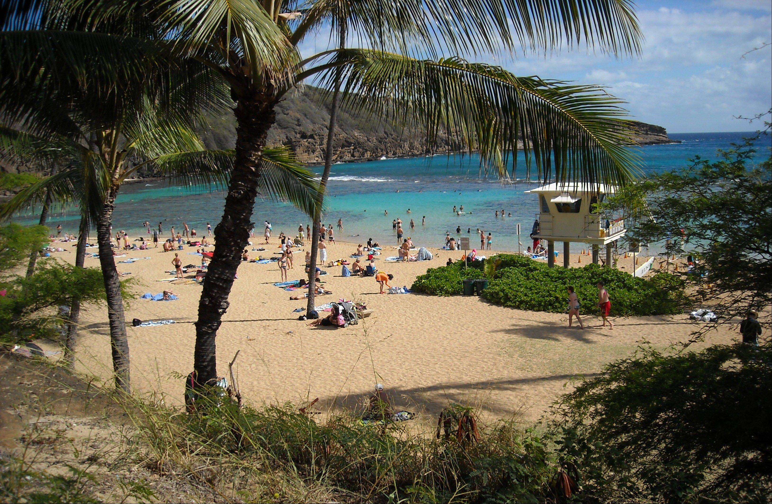 Sunbathers and snorkelers enjoy a balmy beach day at Hanauma Bay, on the east side of Oahu, Hawaii. The bay is home to hordes of colorful tropical fish.