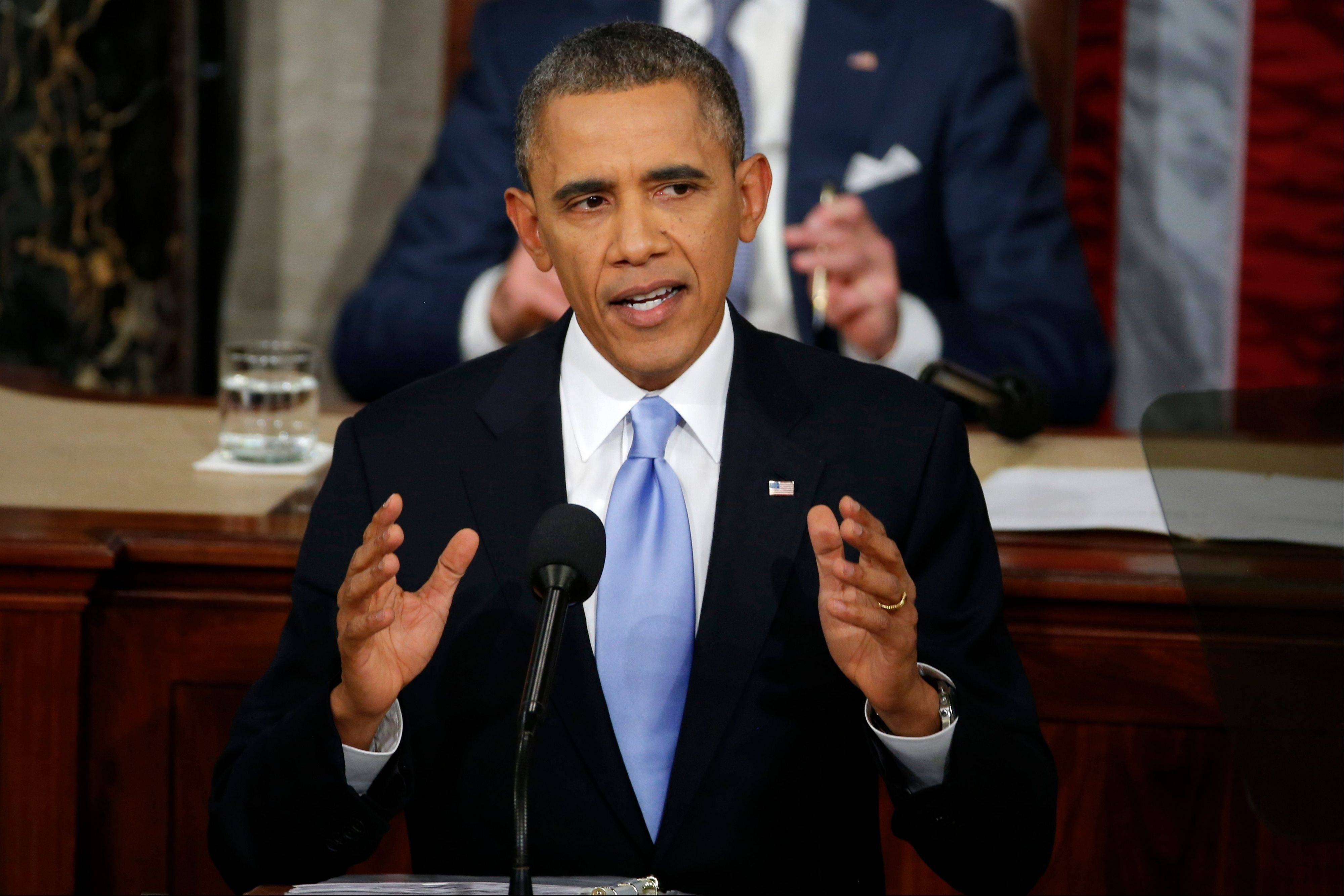 President Barack Obama delivers his State of the Union address on Capitol Hill Tuesday.