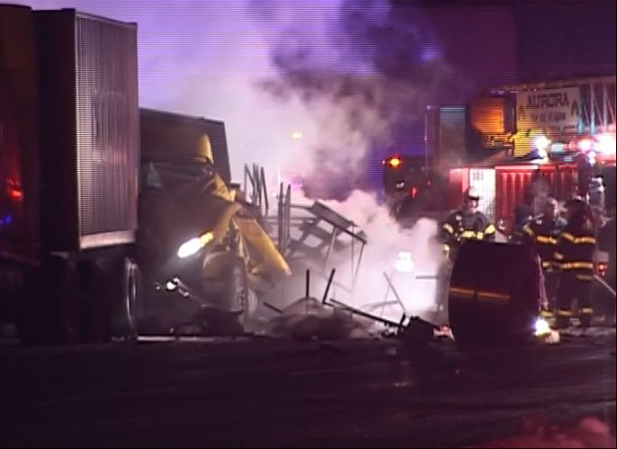 A tollway worker was killed and a state trooper was seriously injured after a Monday night crash along I-88 in Aurora.