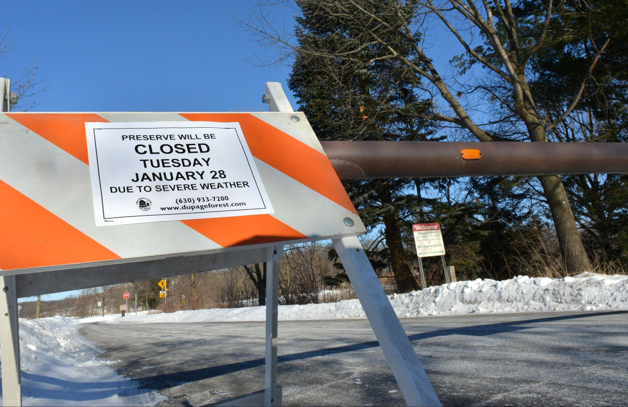 DuPage County Forest Preserves, including Blackwell near Warrenville, were closed to the public Tuesday in response to dangerously cold temperatures.