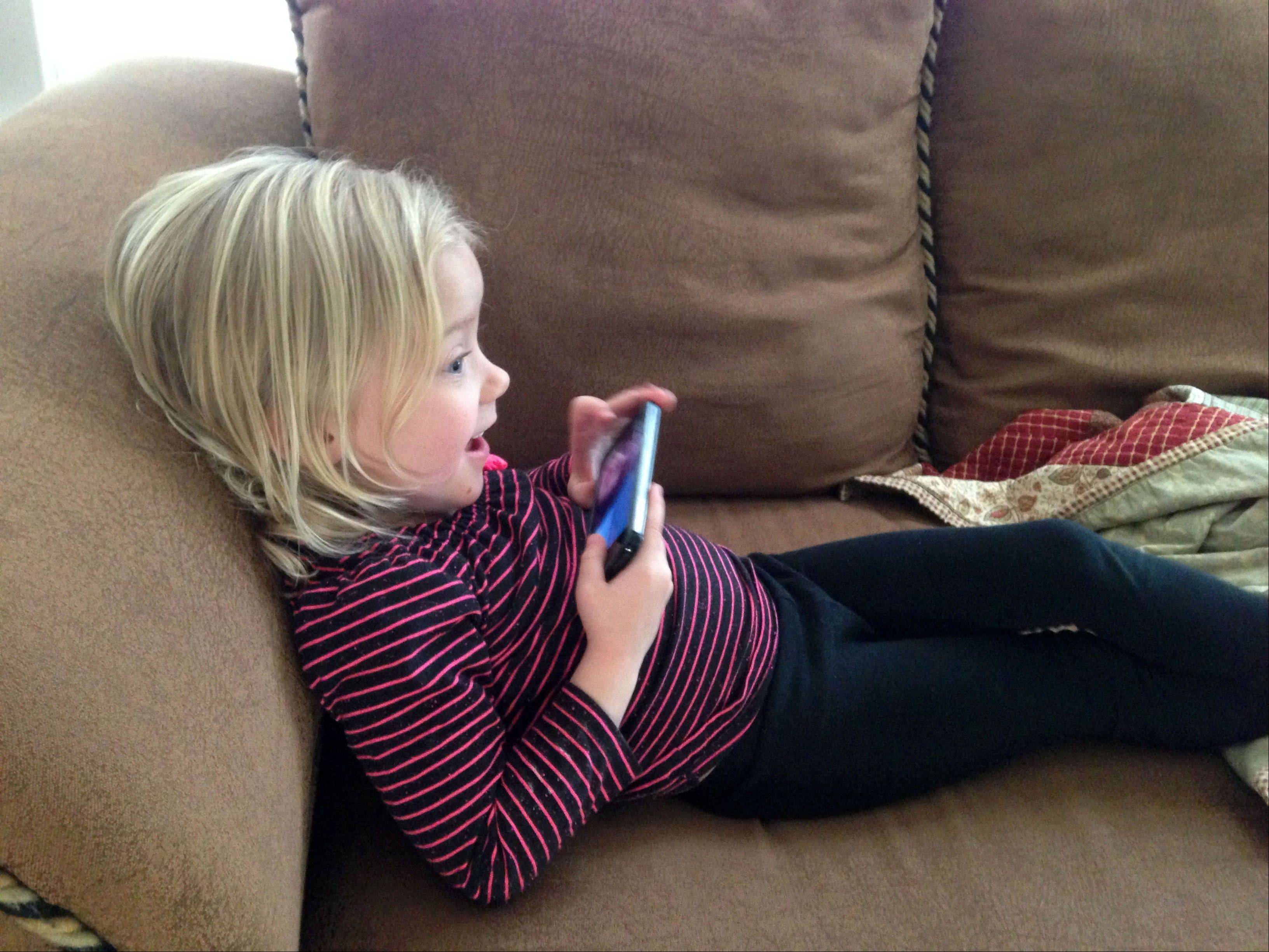 Paisley Koskie, 3, uses Facetime at her home in Wichita, Kansas to chat with her cousin, who lives in Oklahoma. An increasing number of parents of toddlers are finding their tech-savvy 2- and 3-year-old kids are obsessed with selfies
