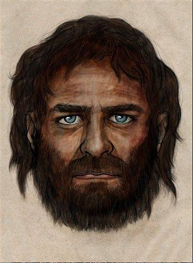 In this undated photo provided by the Spanish National Research Council (CSIC), a drawing depicting how a hunter-gatherer who lived in Europe some 7,000 years ago who had blue eyes and dark skin, a combination that has largely disappeared from the continent in the millennia since, might have looked like according to scientists on Tuesday, Jan. 28. 2013.