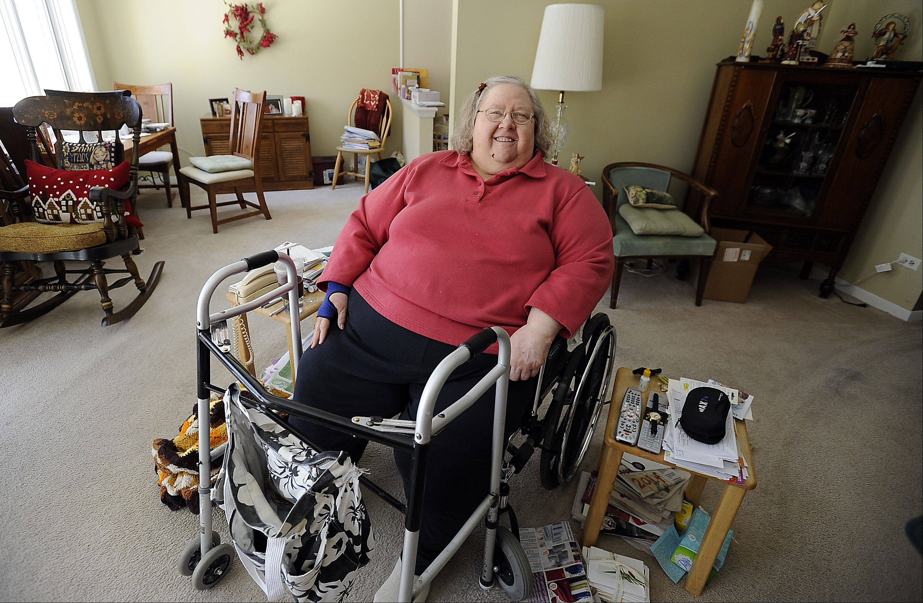 "Penny Jaworski of Des Plaines is one of Samuel Grimes' Meals on Wheels clients. ""I appreciate it, especially in this kind of weather, that they can get out."""