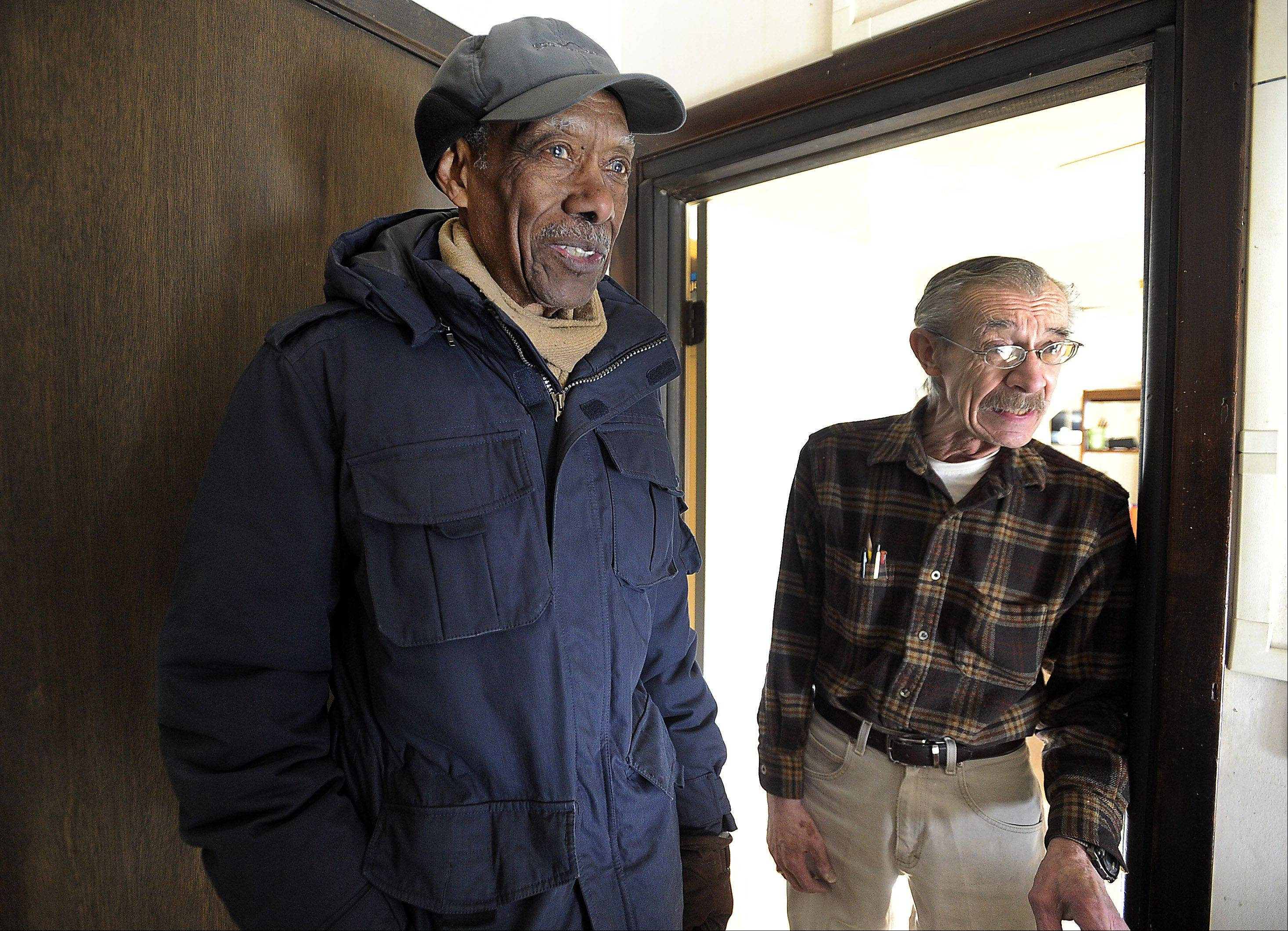 "Bill Shand, 70, right, is one of Samuel Grimes' Meals on Wheels clients. ""He's a fine gentlemen. He always has been,"" Shand said. ""He's always pleasant."""