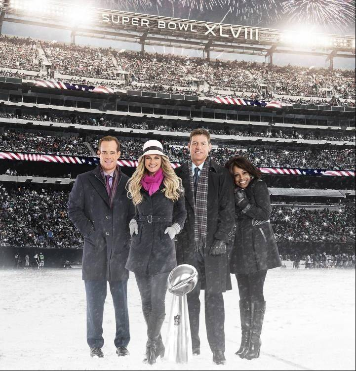 The broadcast team of Super Bowl XLVIII includes Joe Buck, left, Erin Andrews, Troy Aikman and Pam Oliver.