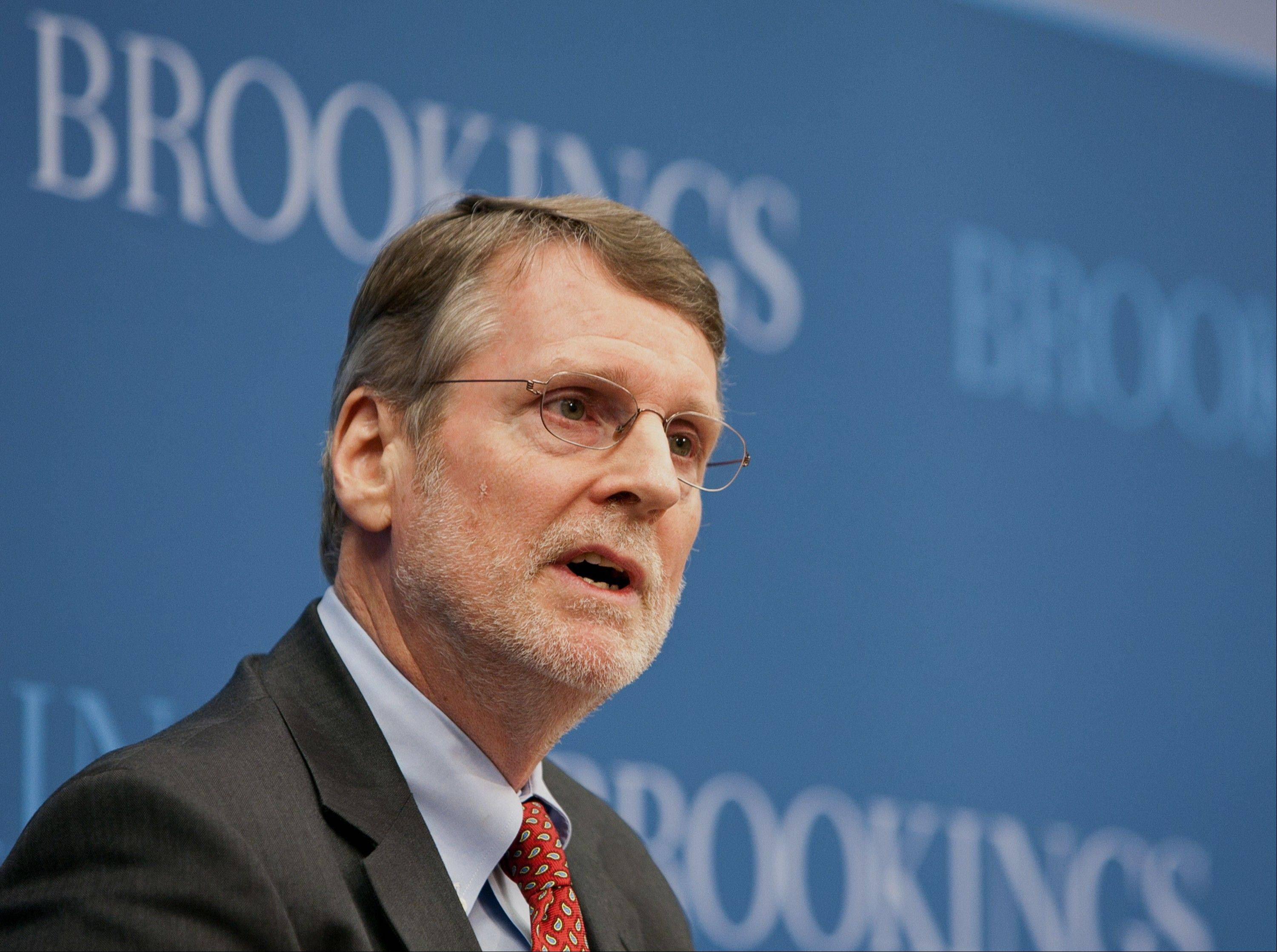 This handout photo provided by the Brookings Institution, taken Jan. 13, shows Gary Burtless of the Brookings Institution speaking in Washington. New research shows Obama�s health care law will significantly boost the economic fortunes of people in the bottom fifth of the income ladder.