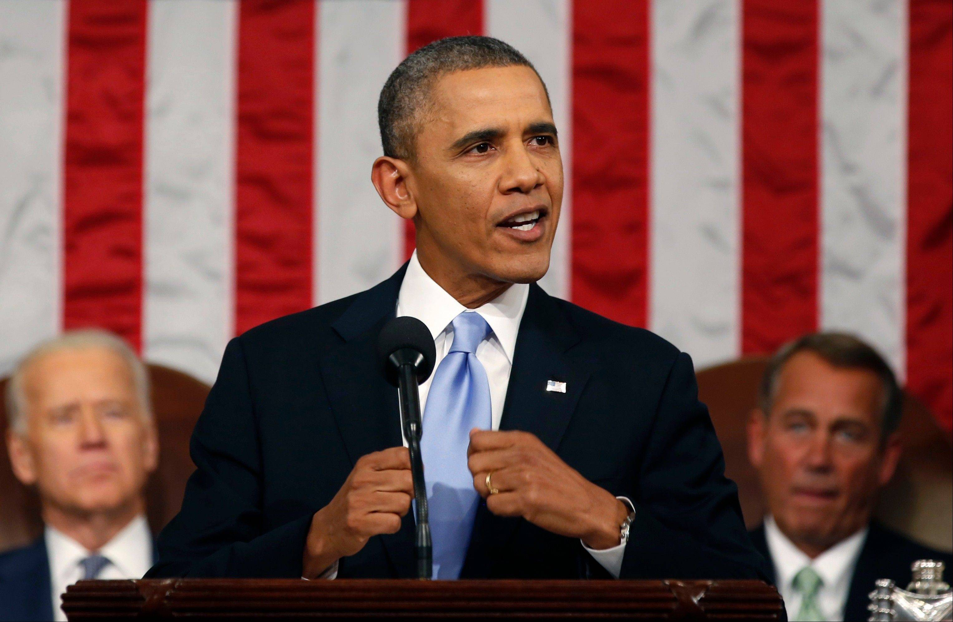 President Barack Obama used his State of the Union address Tuesday night to make his pitch that the nation must come together to address persistent problems, from the wealth gap between rich and poor to economic mobility to lagging schools.