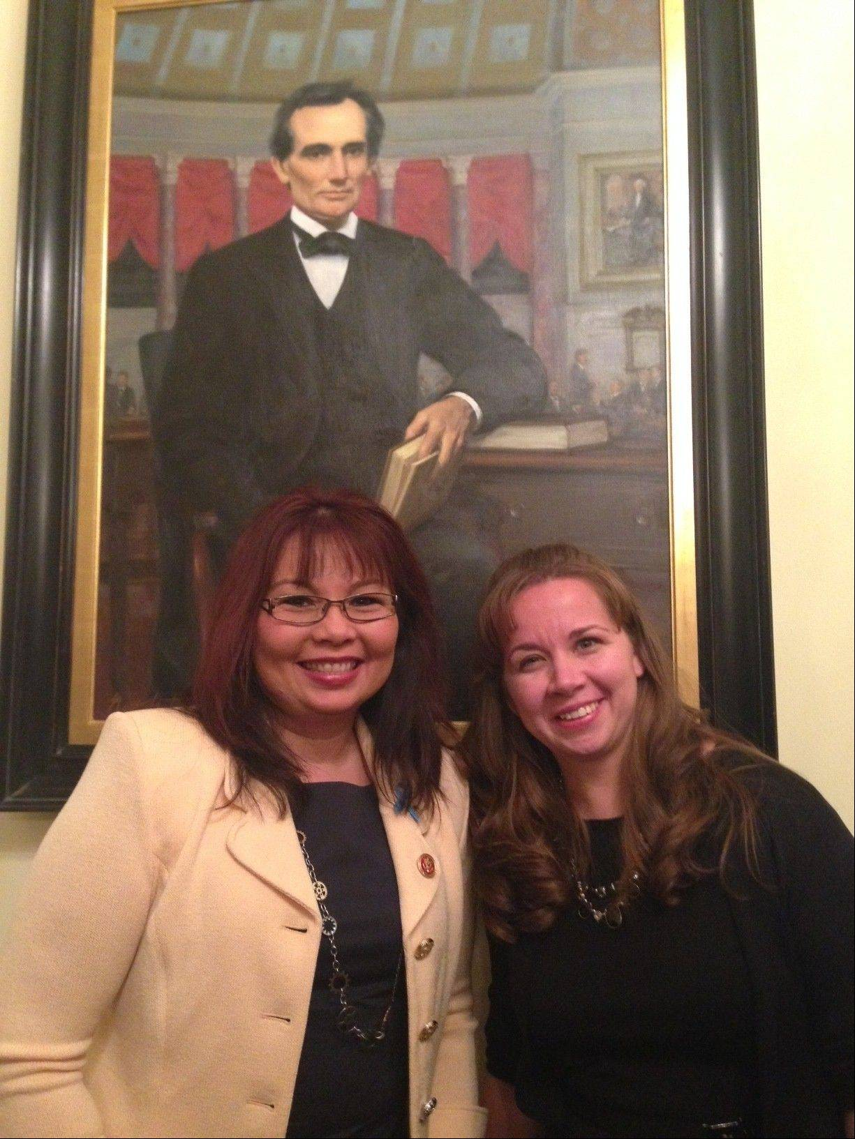 Schaumburg Township Elementary District 54 science teacher Michelle Burke, right, was a guest of 8th District Congresswoman Tammy Duckworth for the State of the Union in Washington D.C. Tuesday.