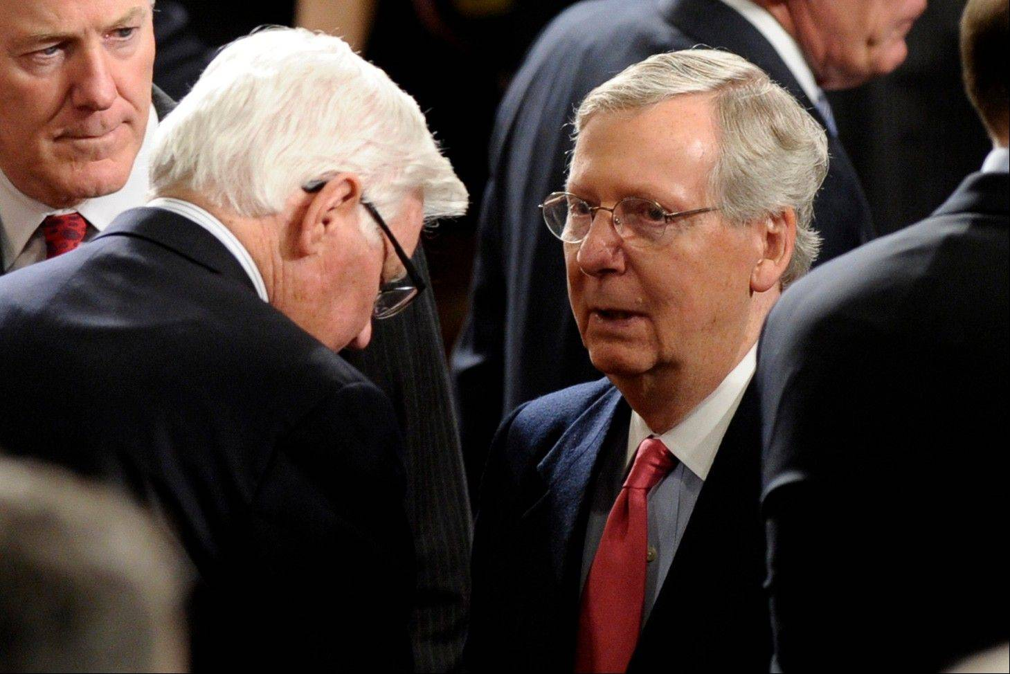 Senate Minority Leader Mitch McConnell of Ky. arrives for President Barack Obama's State of the Union address on Capitol Hill in Washington, Tuesday Jan. 28, 2014.