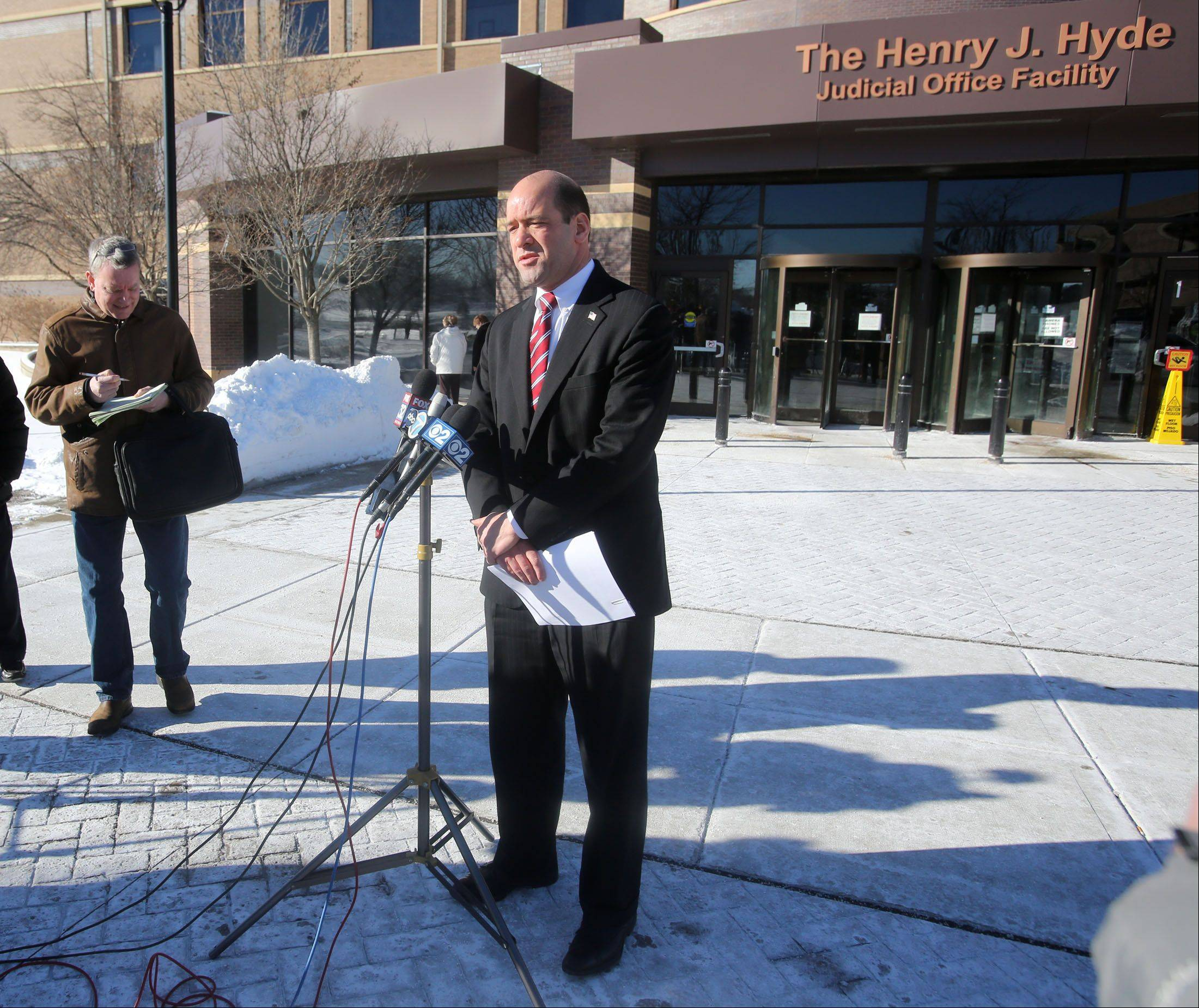 DuPage County State's Attorney Bob Berlin outlines the charges Wednesday against a Hanover Park truck driver who authorities say triggered a fatal accident on I-88.
