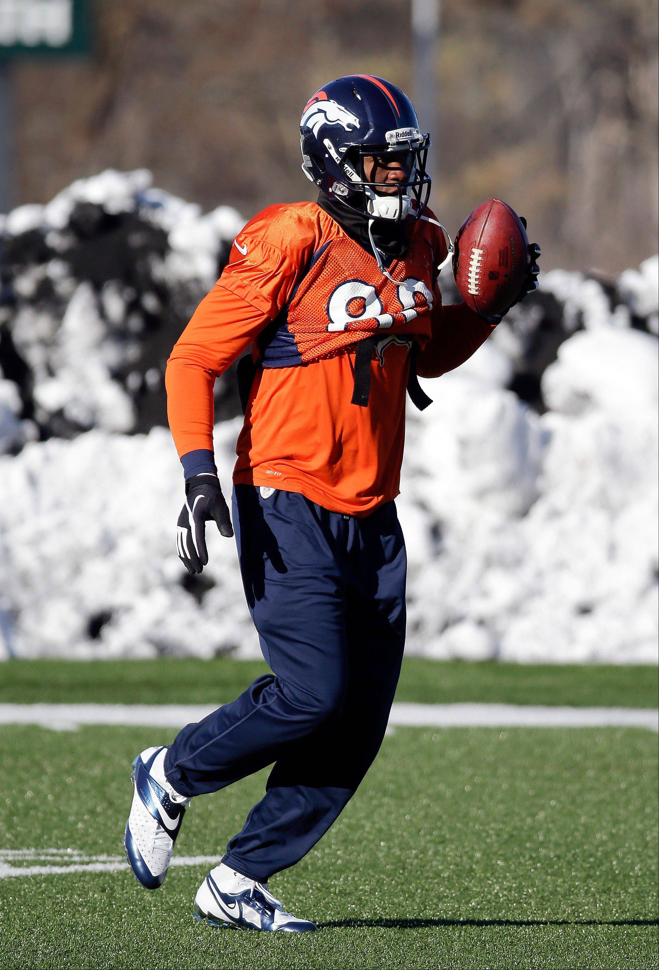 Denver Broncos tight end Julius Thomas runs a drill during practice Wednesday, Jan. 29, 2014, in Florham Park, N.J. The Broncos are scheduled to play the Seattle Seahawks in the NFL Super Bowl XLVIII football game Sunday, Feb. 2, in East Rutherford, N.J.