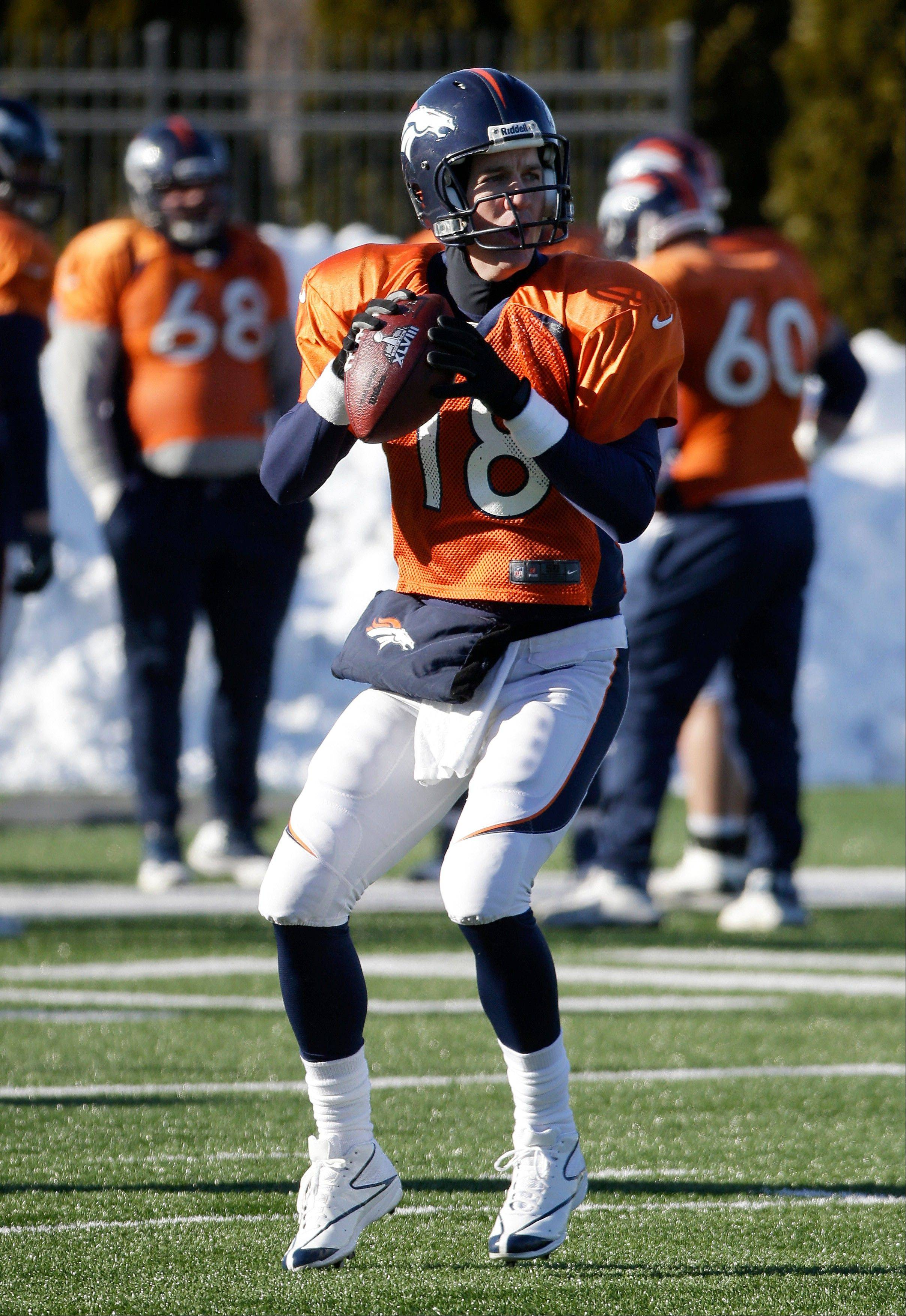 Denver Broncos quarterback Peyton Manning (18) passes during practice Wednesday, Jan. 29, 2014, in Florham Park, N.J. The Broncos are scheduled to play the Seattle Seahawks in the NFL Super Bowl XLVIII football game Sunday, Feb. 2, in East Rutherford, N.J.