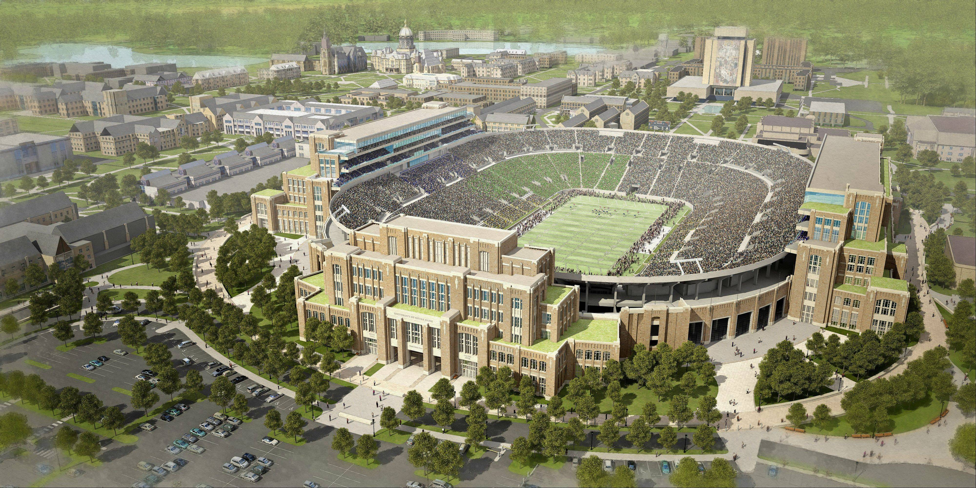In this artists rendering provided by The University of Notre Dame is the school's new football stadium. Notre Dame announced plans Wednesday, Jan. 29, 2014 to expand the schoolís 84-year-old football stadium, adding up to 4,000 premium seats and spending about $400 million to add buildings on three sides of the ìHouse that Rockne Built.î