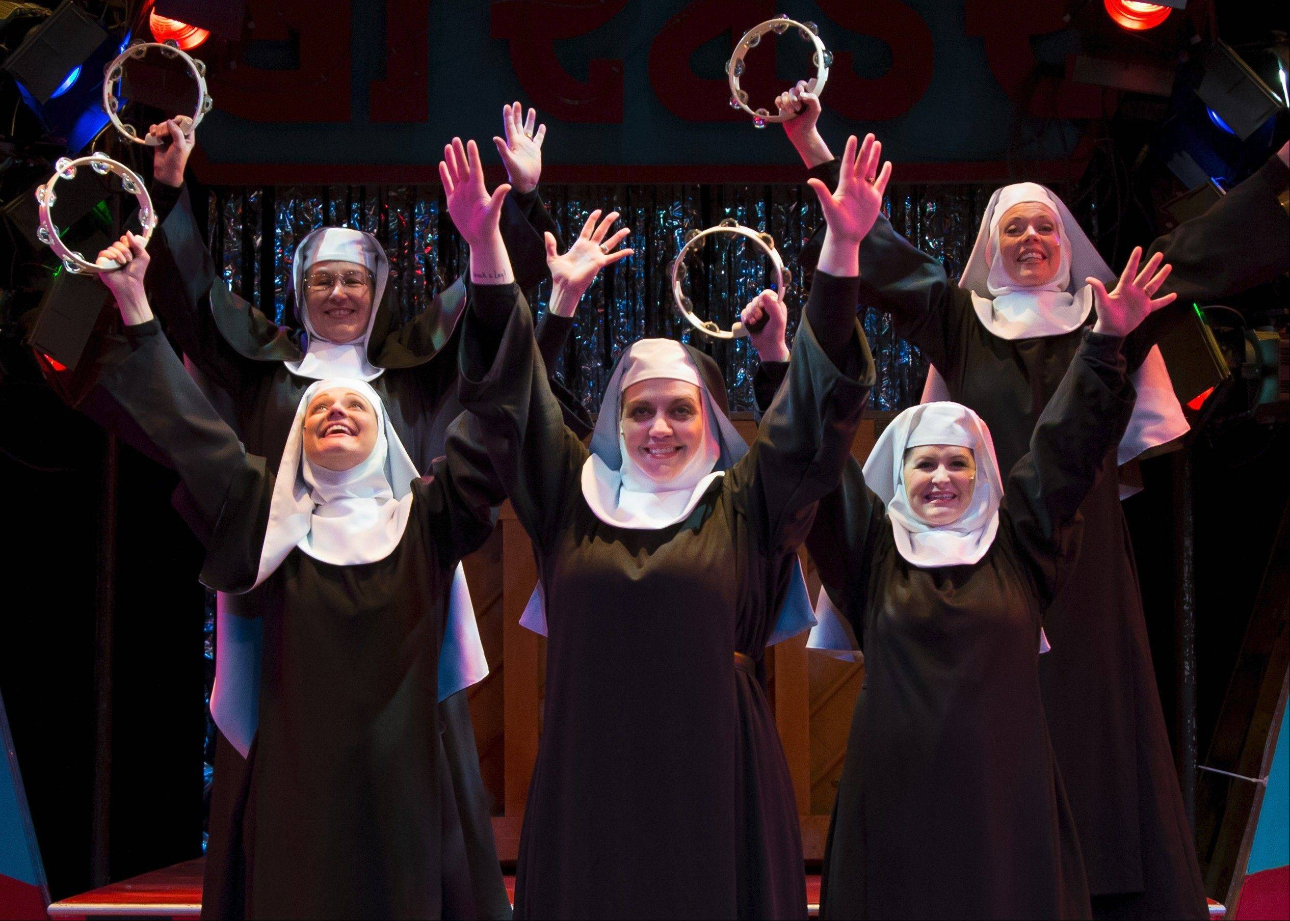"Five nuns from Hoboken, N.J., perform in a fundraising revue in Fox Valley Repertory's ""Nunsense."""