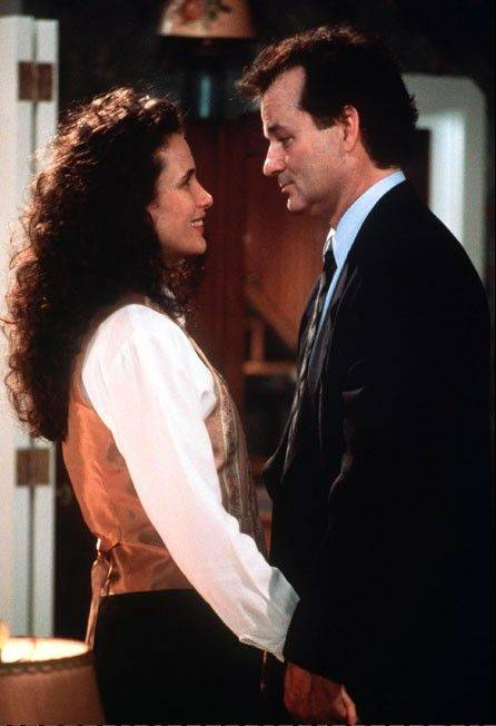 "Andie MacDowell, at left, and Bill Murray starred in the 1993 film ""Groundhog Day,"" shot in Woodstock. The script was written by Danny Rubin, who will be in Woodstock this weekend to celebrate the movie."