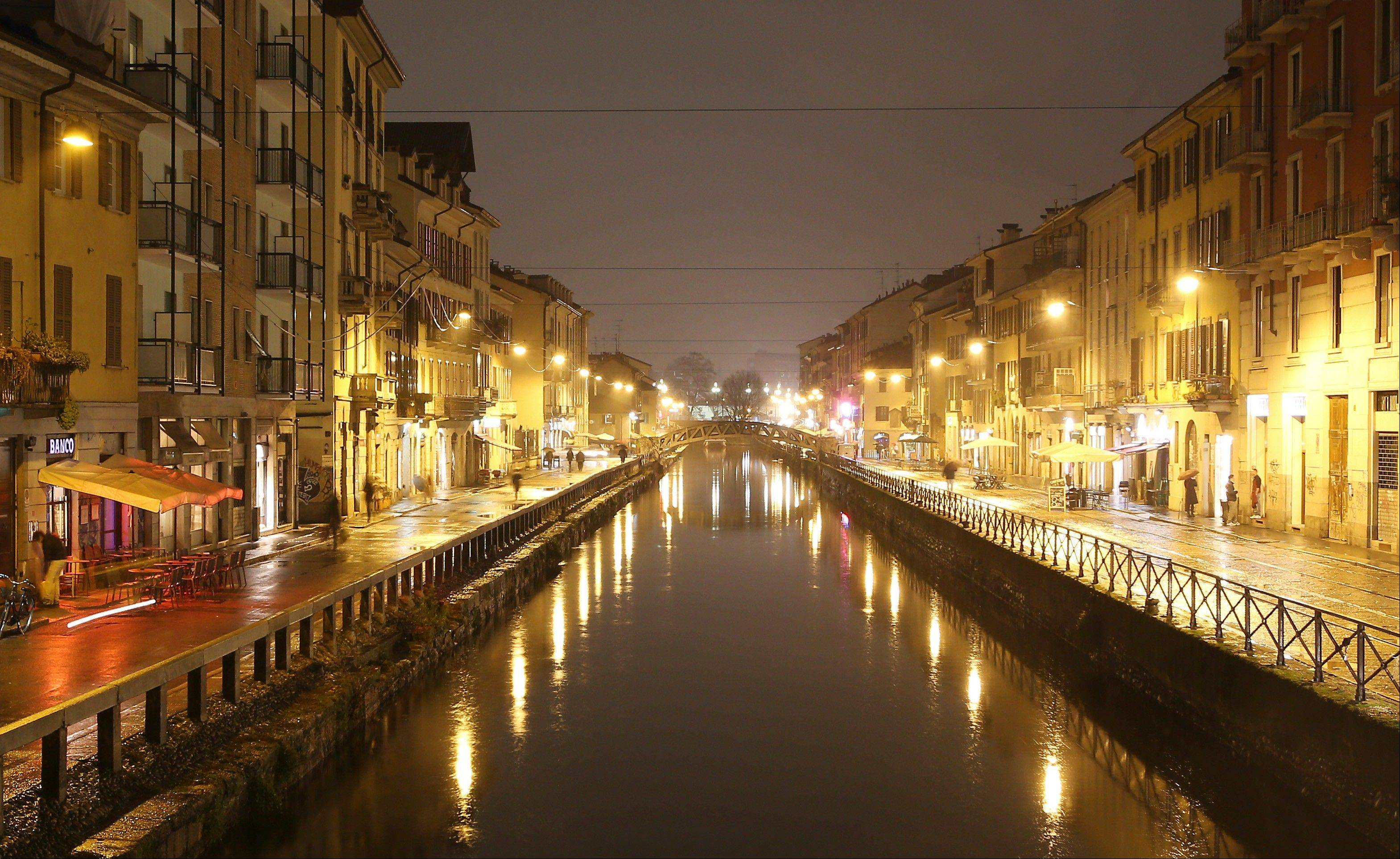 The Naviglio water canals are the center of Milan's night life.