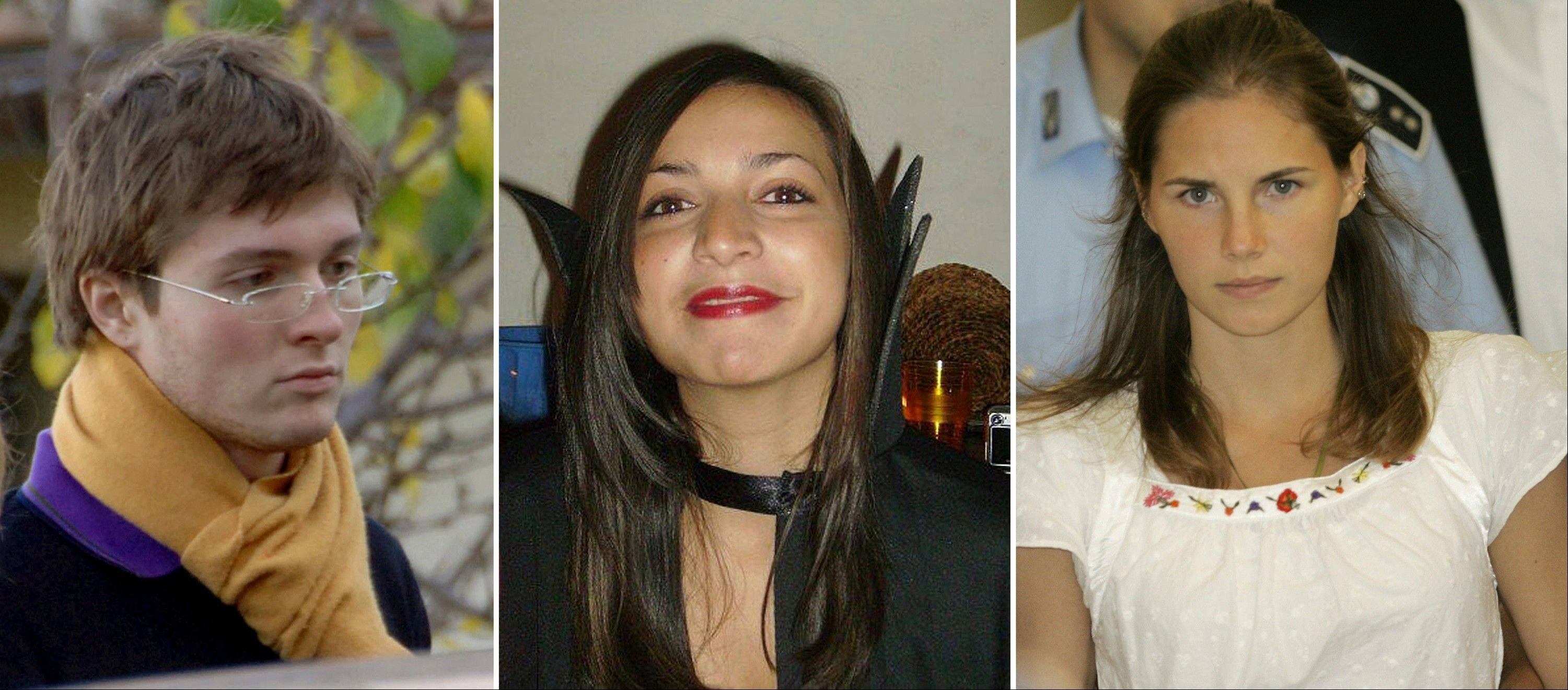 From left; Italian student Raffaele Sollecito, slain 21-year-old British woman Meredith Kercher, her American roommate Amanda Knox. Few international criminal cases have cleaved along national biases as that of American student Amanda Knox, who was awaiting half world away her third Italian court verdict in the 2007 slaying of her British roommate, 21-year-old Meredith Kercher.