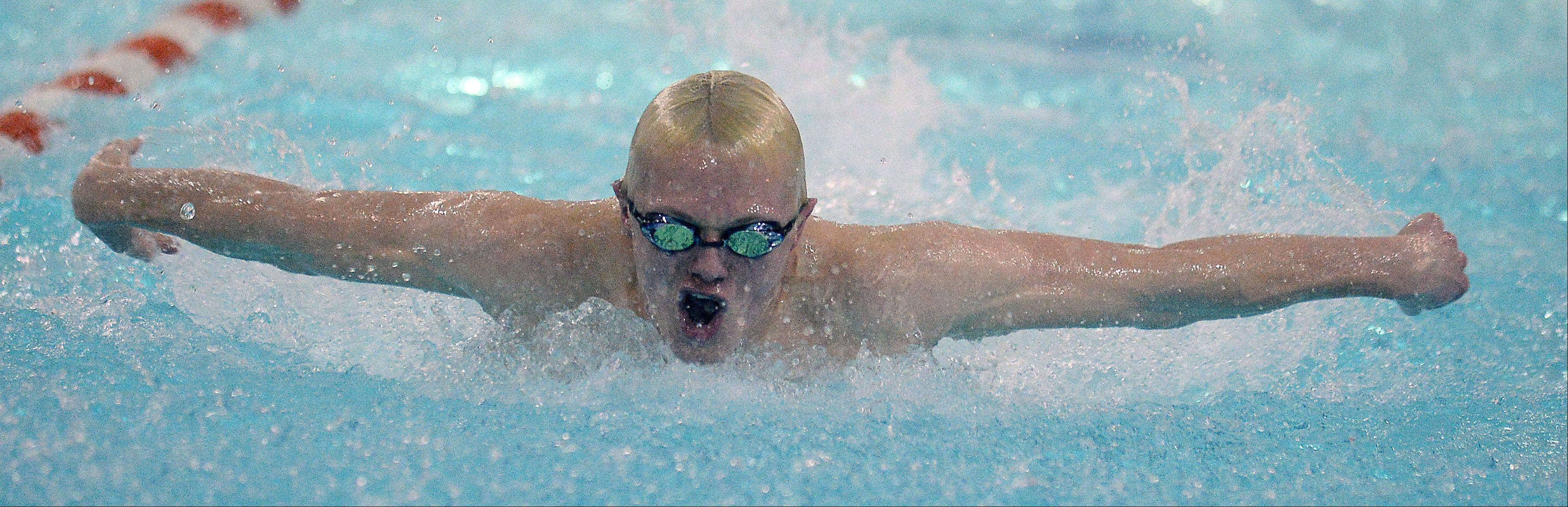 Prospect's Nathanael Ginnodo heads for a first-place finish in the 200-yard IM on Thursday as the Knights clinched the MSL East title with a 105-81 victory.