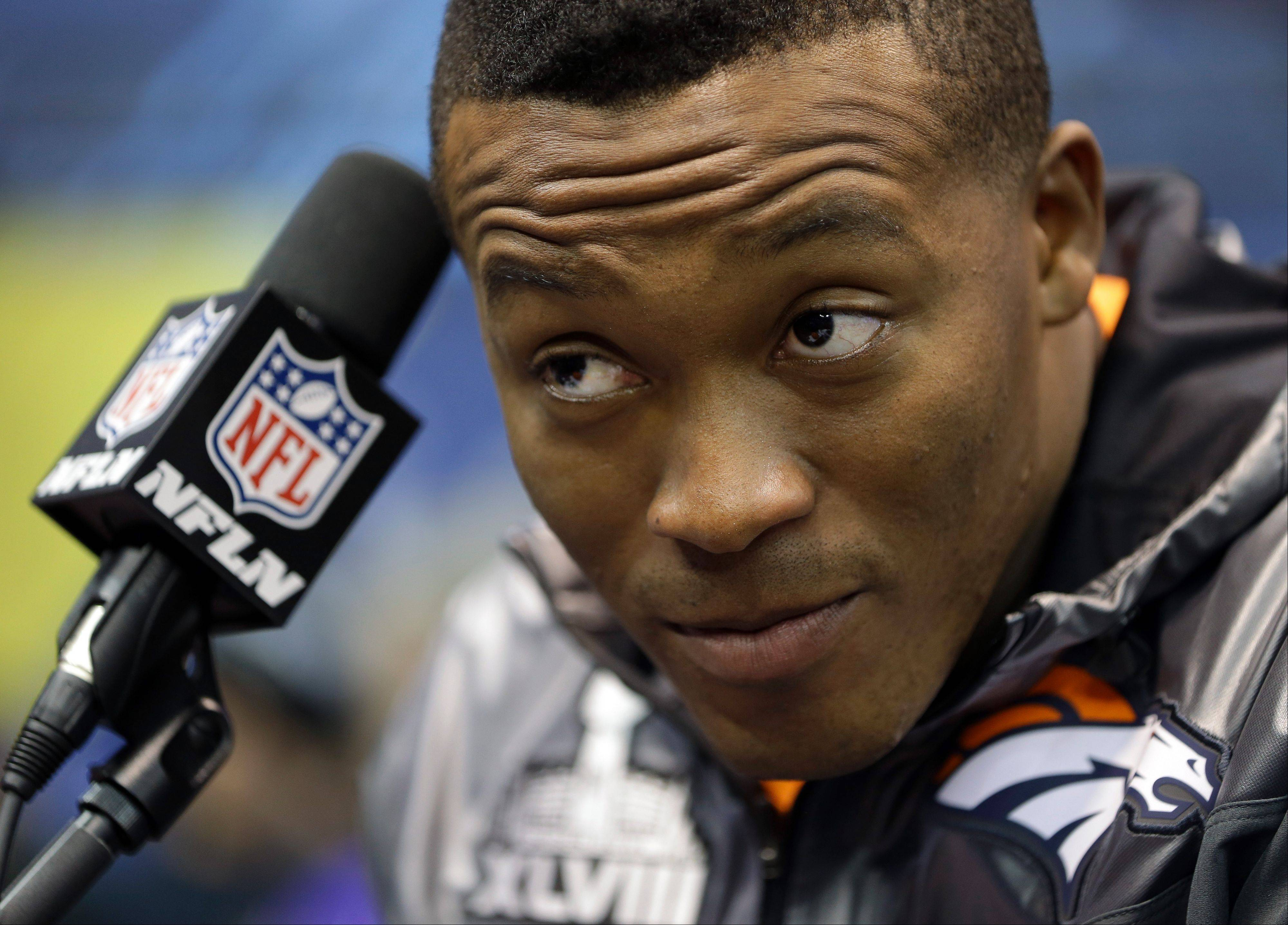 Denver Broncos' Demaryius Thomas listens to a question during media day for the NFL Super Bowl XLVIII football game Tuesday, Jan. 28, 2014, in Newark, N.J.