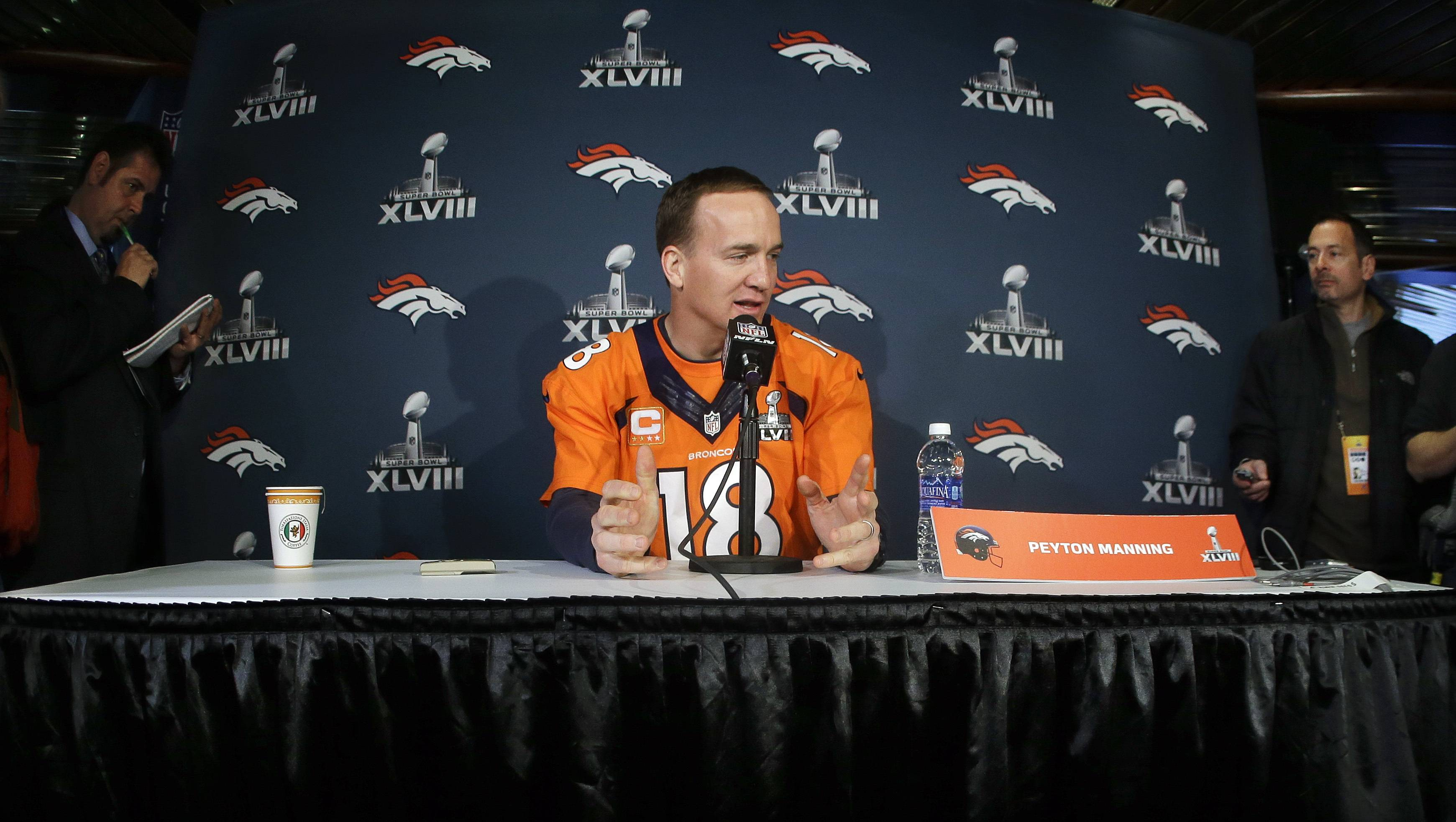Denver Broncos quarterback Peyton Manning talks with reporters during a news conference Wednesday, Jan. 29, 2014, in Jersey City, N.J. The Broncos are scheduled to play the Seattle Seahawks in the NFL Super Bowl XLVIII football game Sunday, Feb. 2, in East Rutherford, N.J. (AP Photo/Mark Humphrey)Associated Press