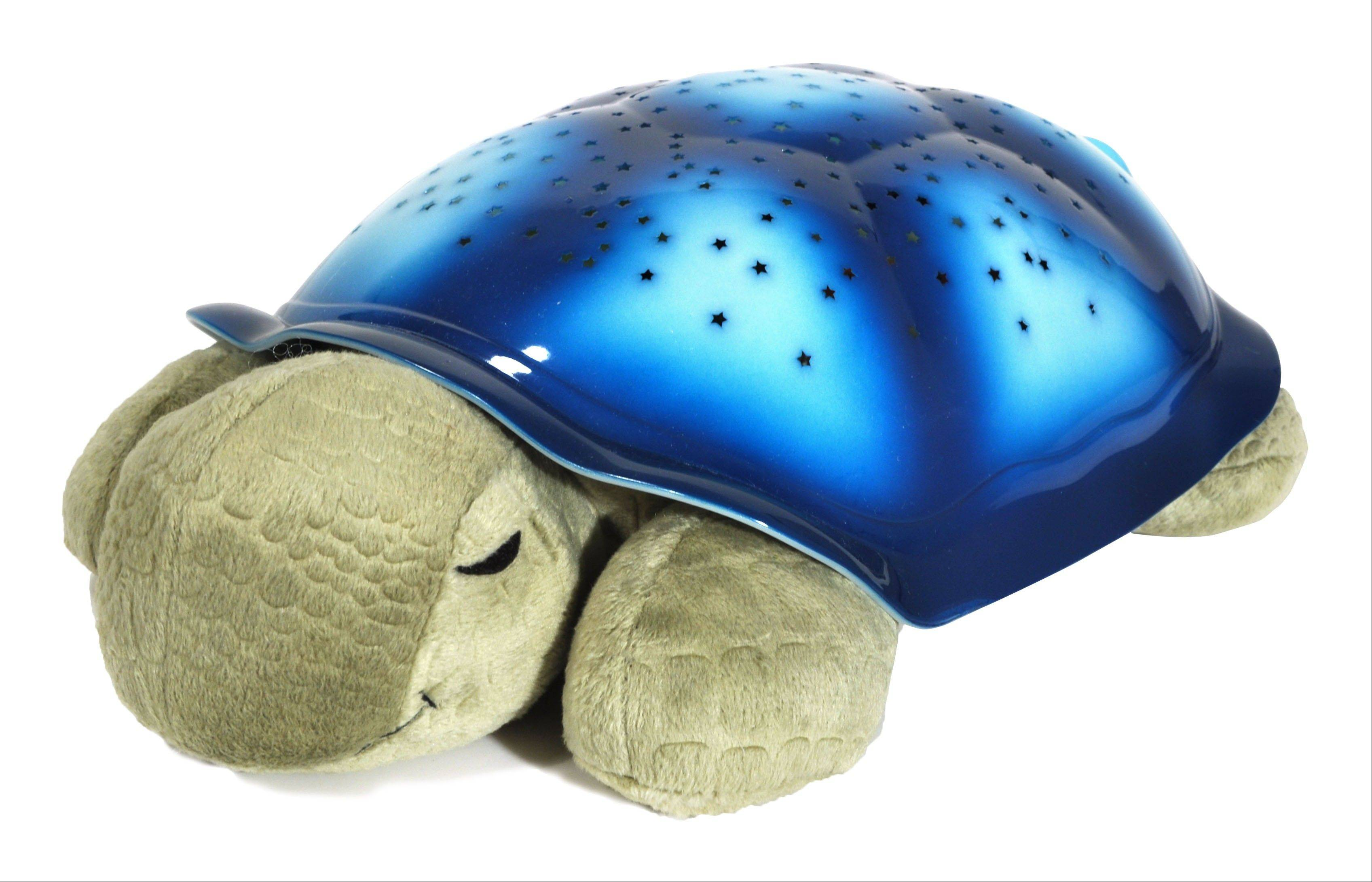 Twilight Turtle pillow lights up a bedroom's ceiling with a starry pattern. Parents can download lullabies and stream them through the turtle via Bluetooth technology.