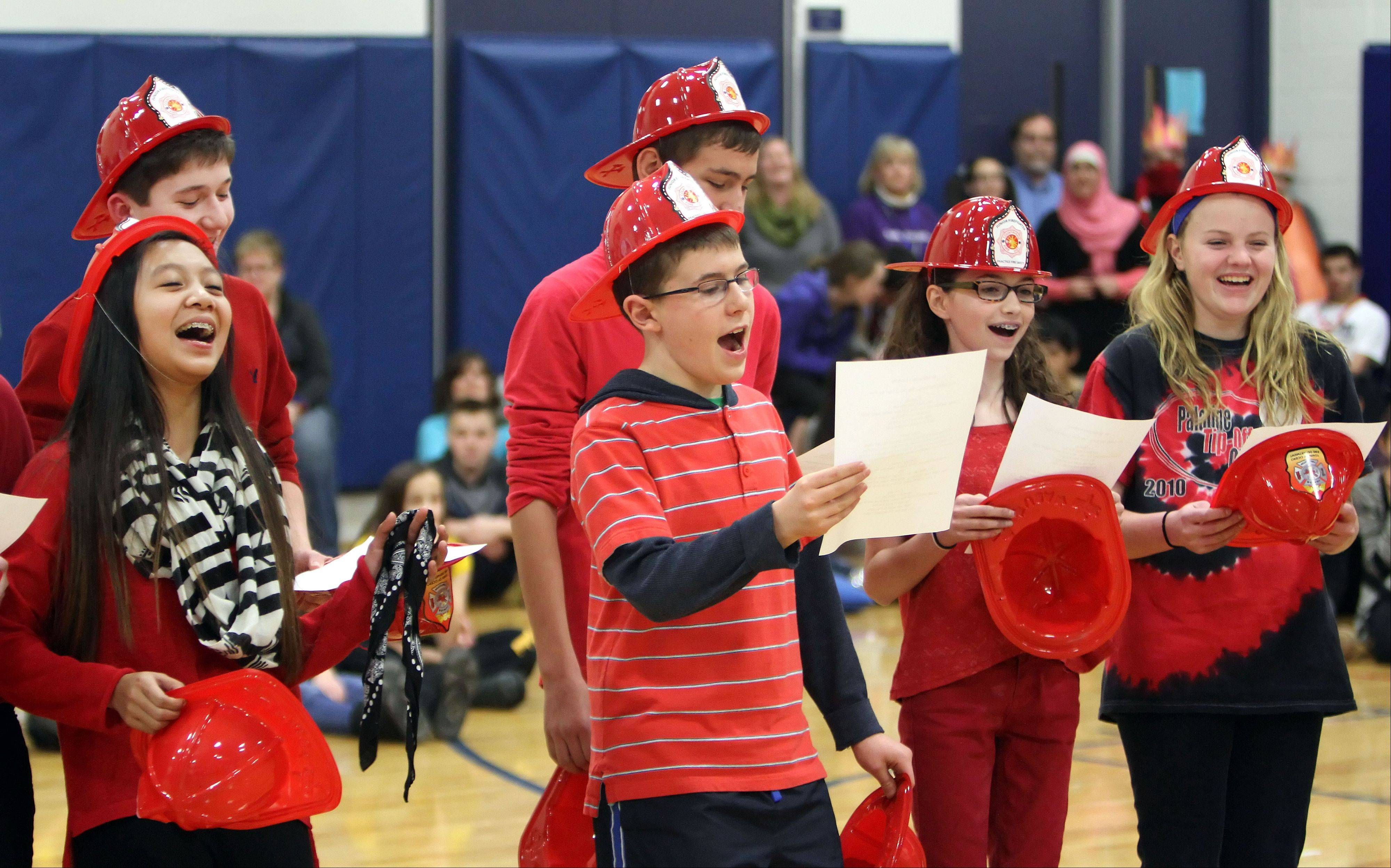 Eighth-graders at Hawthorn Middle School North participate in skit contest for fire safety and burn prevention during an all-school assembly Friday in Vernon Hills.